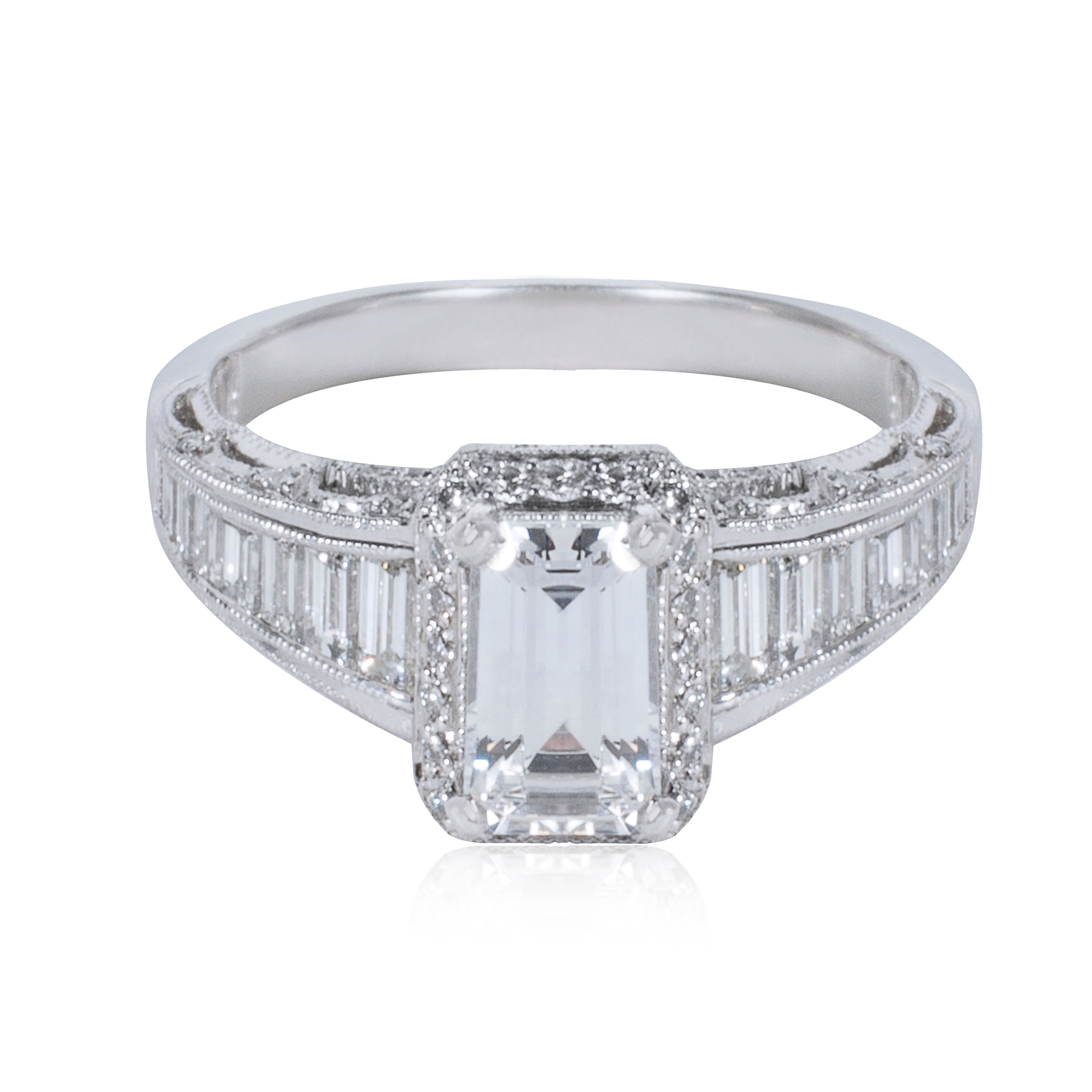Tacori Platinum 7 8ct Diamond Square Cut Engagement Ring Setting Overstock 10430718