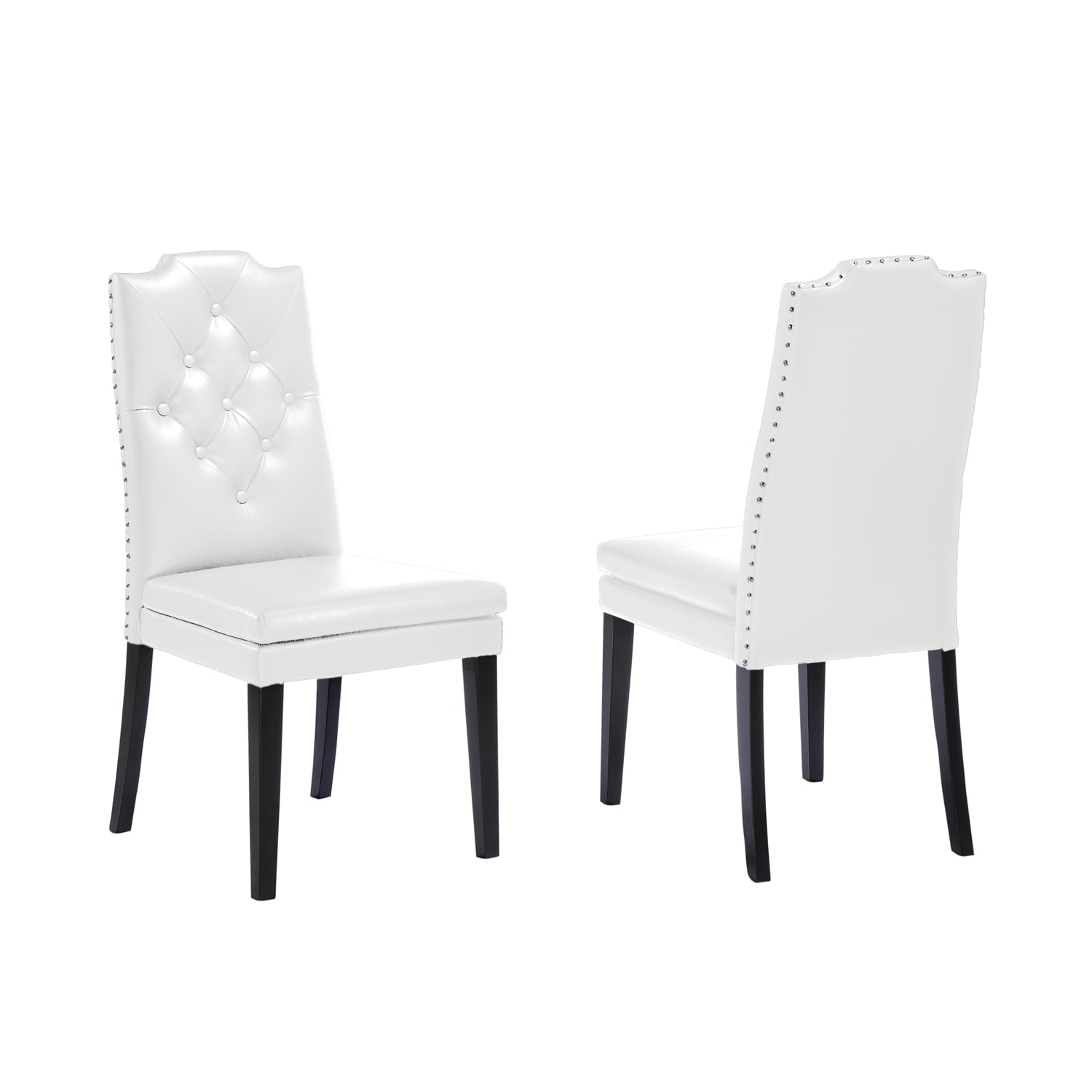 Shop Baxton Studio Dylin Contemporary White Faux Leather With Button Tufted  Nail Heads Trim Dining Chair (Set Of 2)   Free Shipping Today    Overstock.com   ...