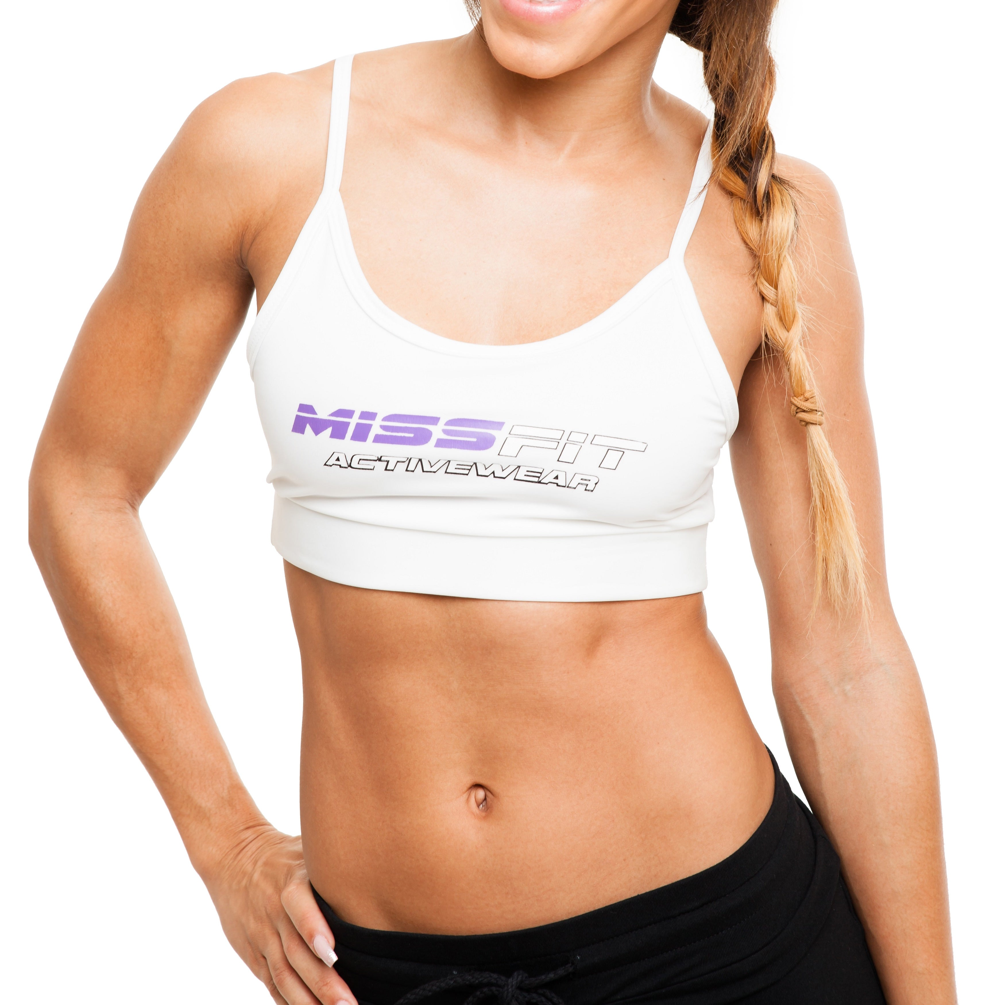 dd01e0fa47 Shop MissFit Activewear Women s White Spaghetti Strap Sports Bra - On Sale  - Free Shipping Today - Overstock - 10433300