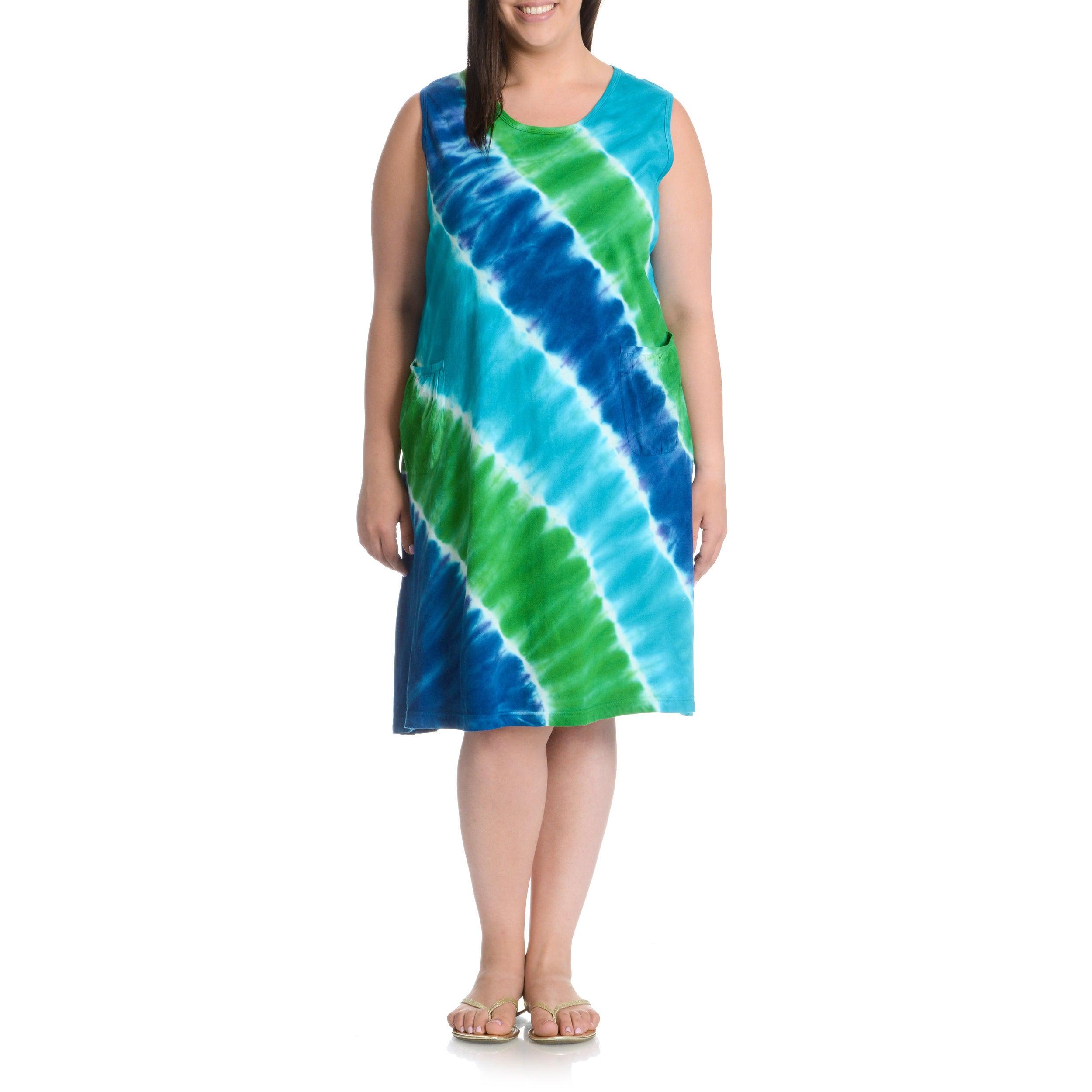 La Cera Plus Size Tie Dye Tank Dress Free Shipping Today