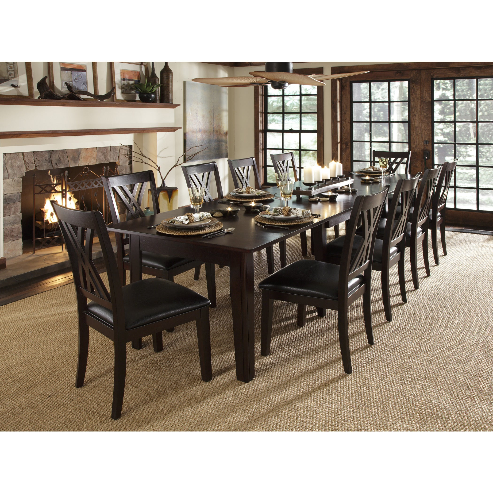 shop asha 11-piece solid wood dining set - free shipping today