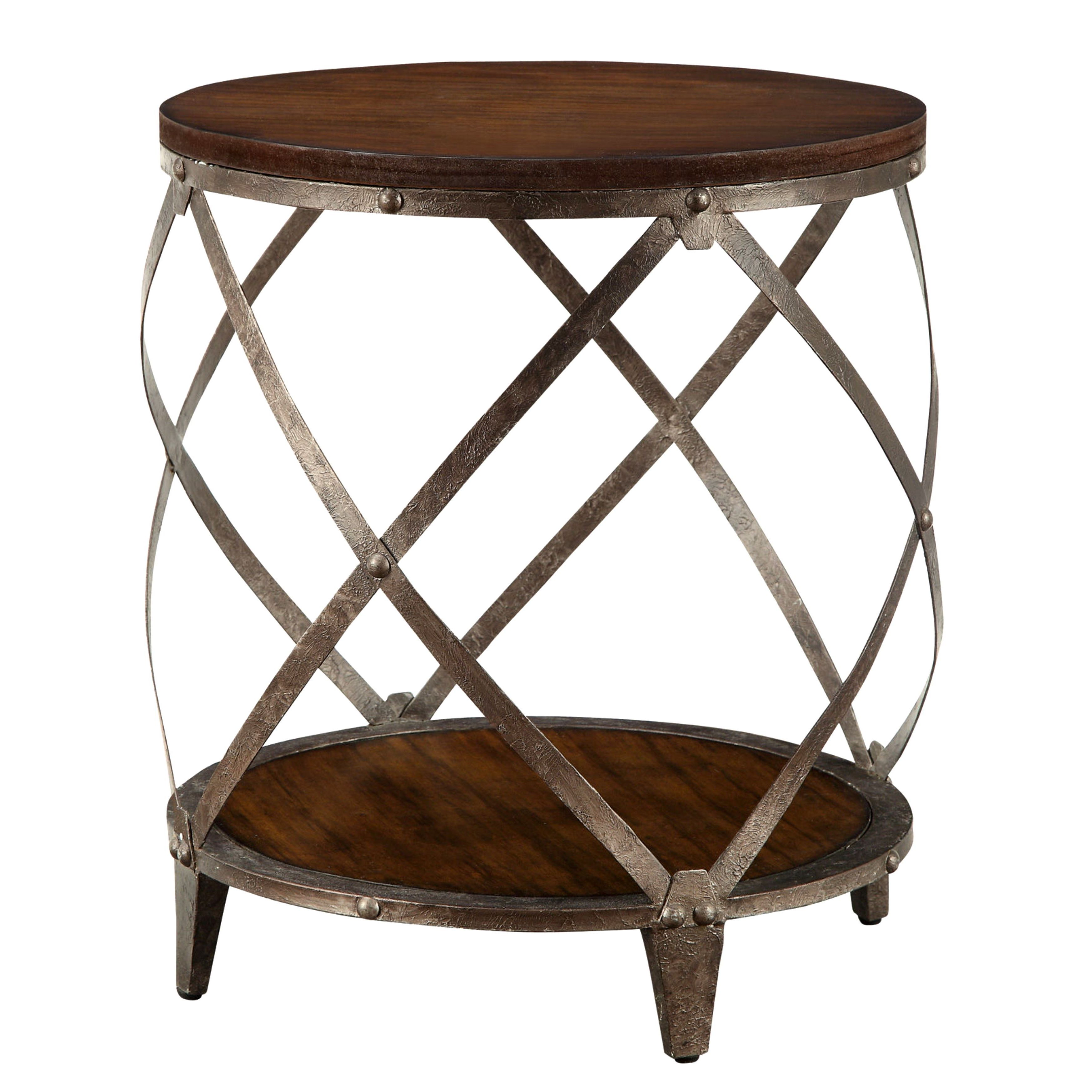 Shop Magnison Distressed Wood Metal Drum Shape Accent Table Free - Distressed wood and metal coffee table