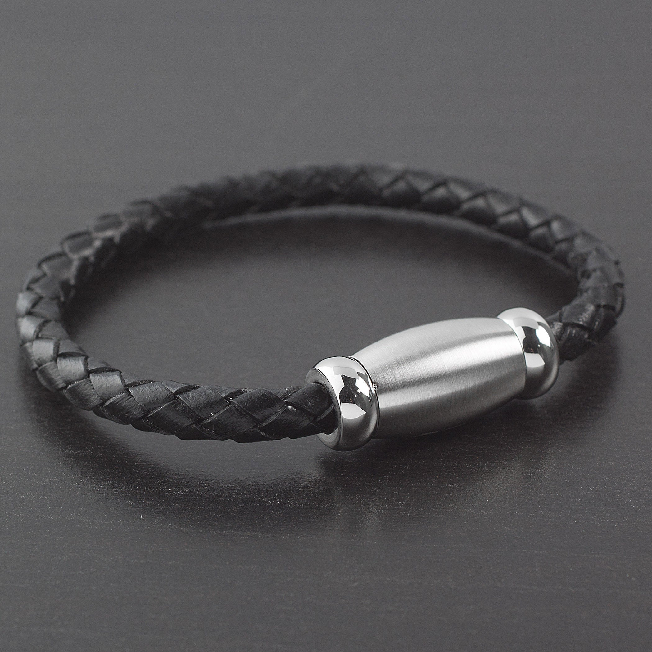 750d780581c4a Men's Stainless Steel Brushed Finish Black Braided Leather Bracelet