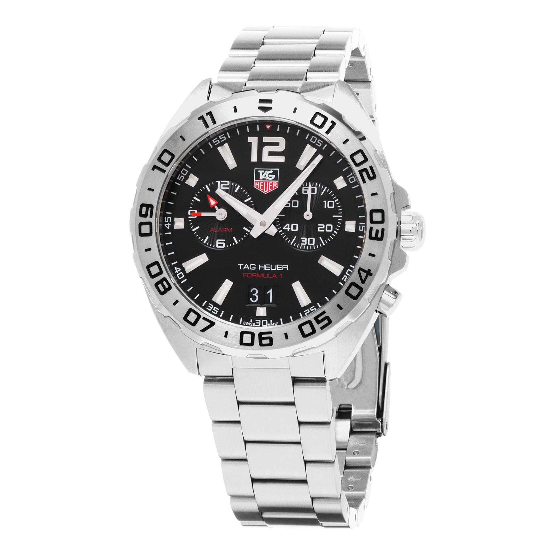 fea76424c7b7 Shop Tag Heuer Men s WAZ111A.BA0875  Formula 1  Black Dial Stainless Steel  Alarm Swiss Quartz Watch - Free Shipping Today - Overstock - 10436359