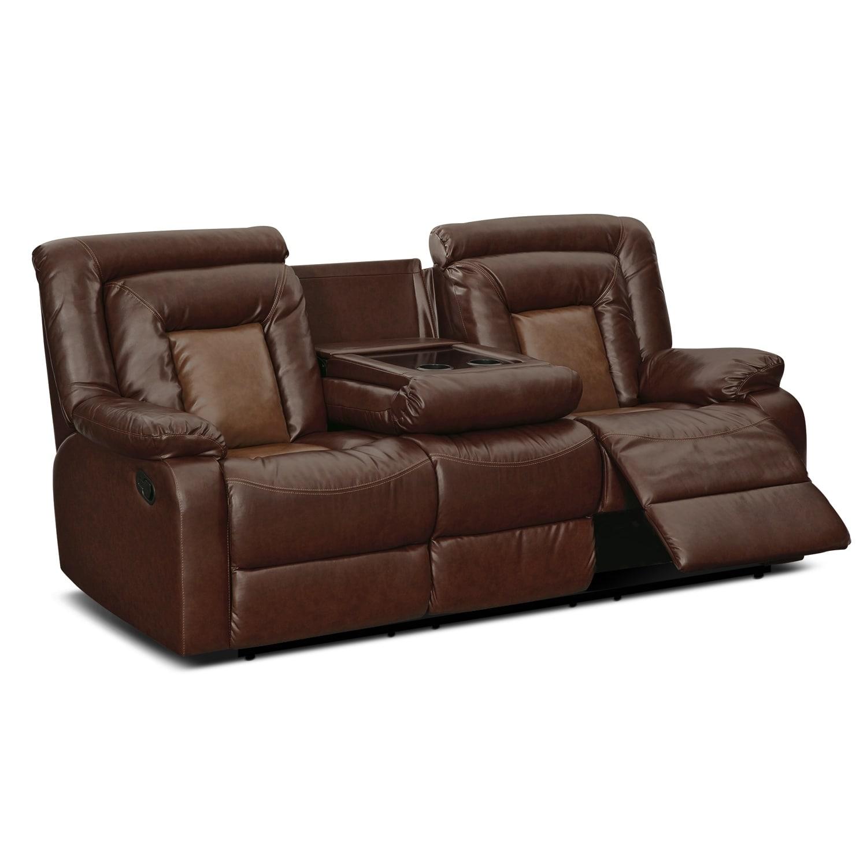 Shop Kmax 2 Toned Pu Dual Reclining Sofa With Drop Console Free