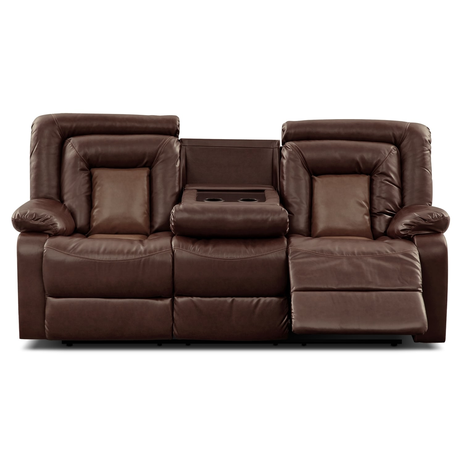 Shop Kmax 2 Toned Pu Dual Reclining Sofa With Drop Console Free