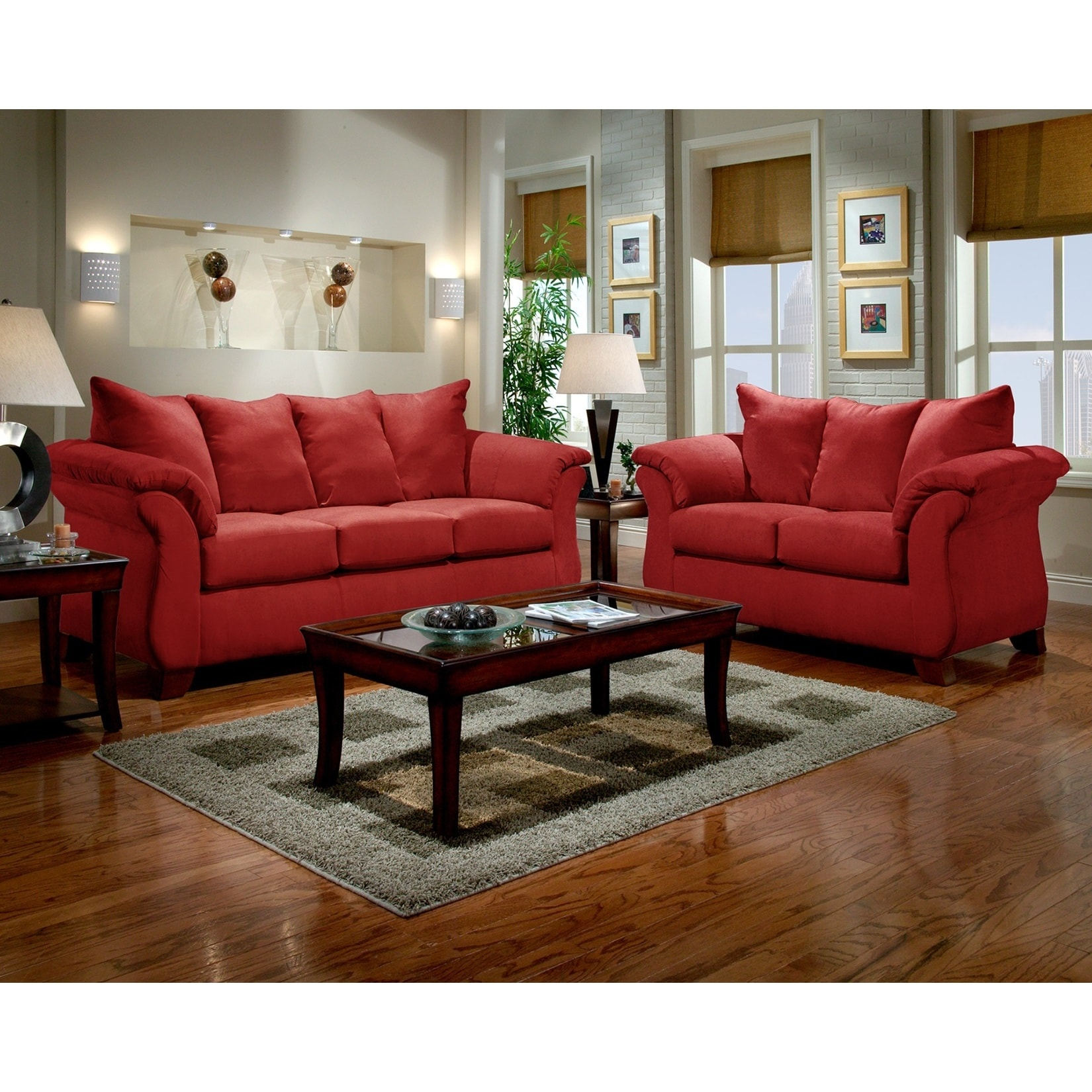 Sensations Microfiber Pillow Back Sofa And Loveseat Set Red Free Shipping Today 10436940