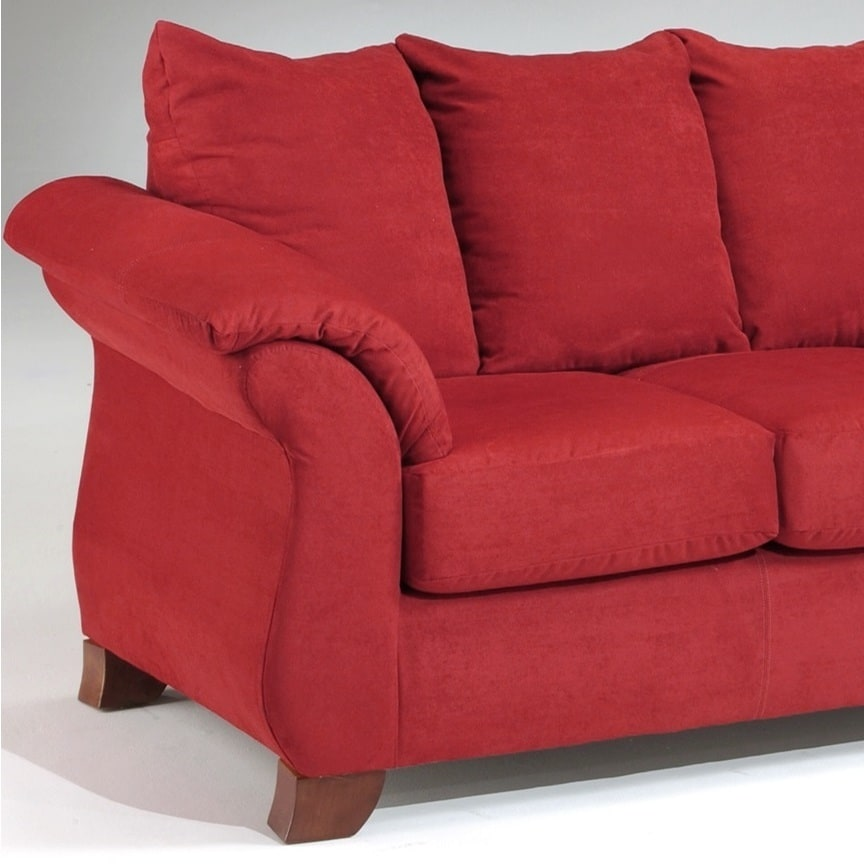 Shop Sensations Microfiber Pillow Back Sofa And Loveseat Set, Red   Free  Shipping Today   Overstock.com   10436940