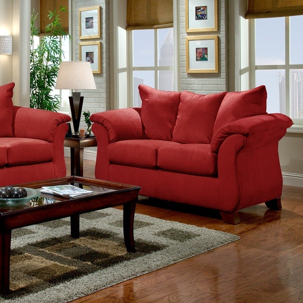 affordable furniture sensations red brick sofa. Sensations Microfiber Pillow Back Sofa And Loveseat Set, Red - Free Shipping Today Overstock 17534218 Affordable Furniture Brick D