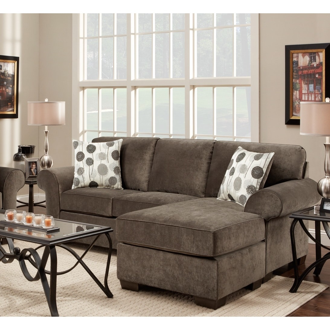 elizabeth ash fabric sectional sofa with 2 pillows - free shipping