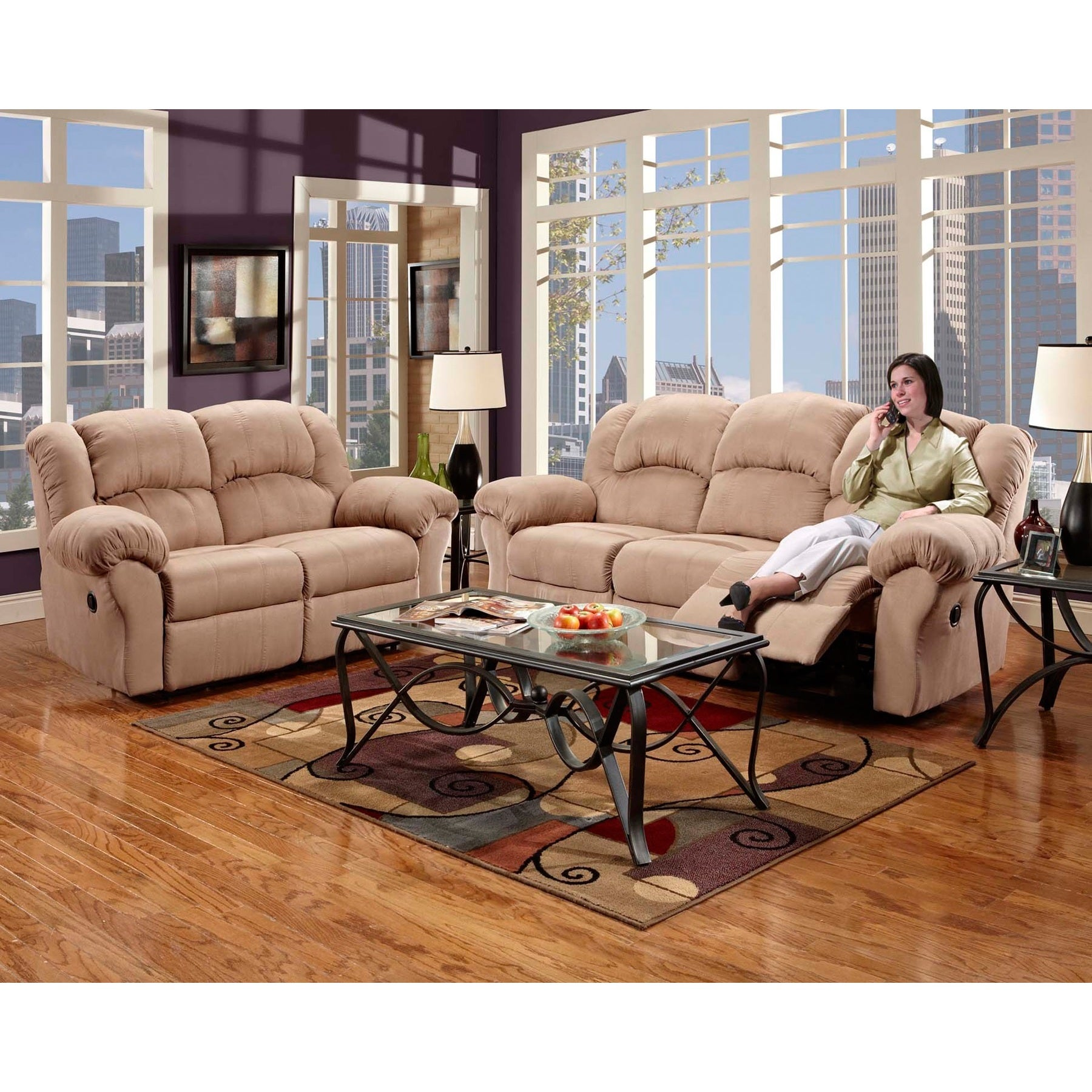 Shop Sensation Microfiber Dual Reclining Sofa Loveseat Set Camel