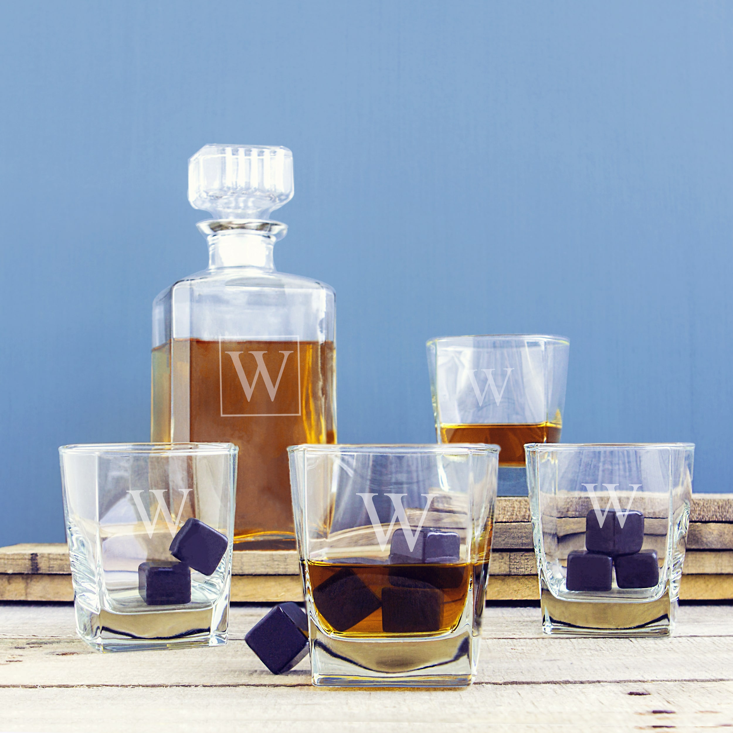 Personalized Decanter Set with Black Whiskey Stones - Free Shipping ...