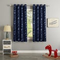 Aurora Home Maritime Print Room Darkening Silver Grommet Top Curtain Panel Pair