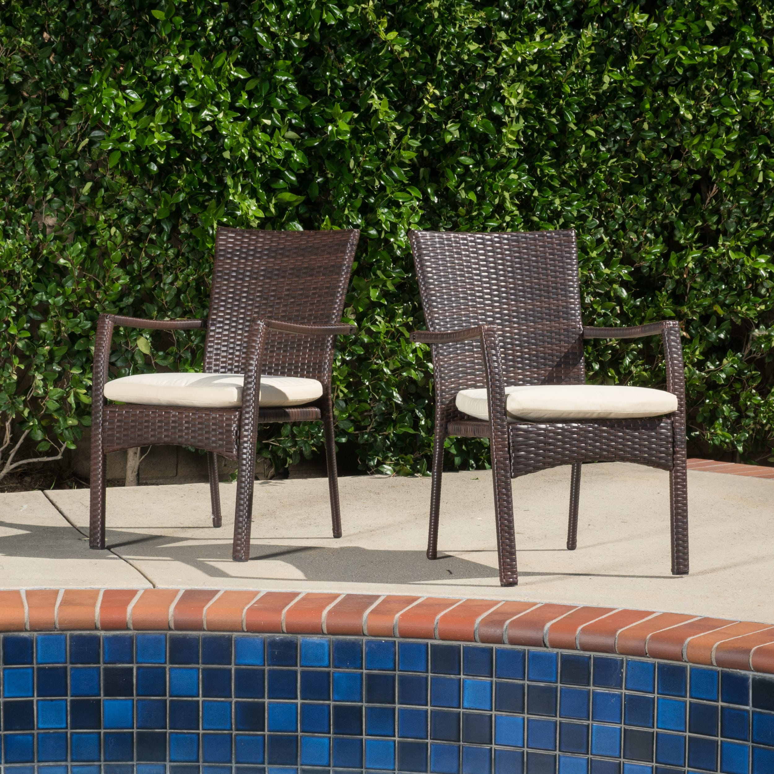 Corsica Outdoor Wicker Dining Chair with Cushion (Set of 2) by Christopher  Knight Home - Free Shipping Today - Overstock.com - 17546946