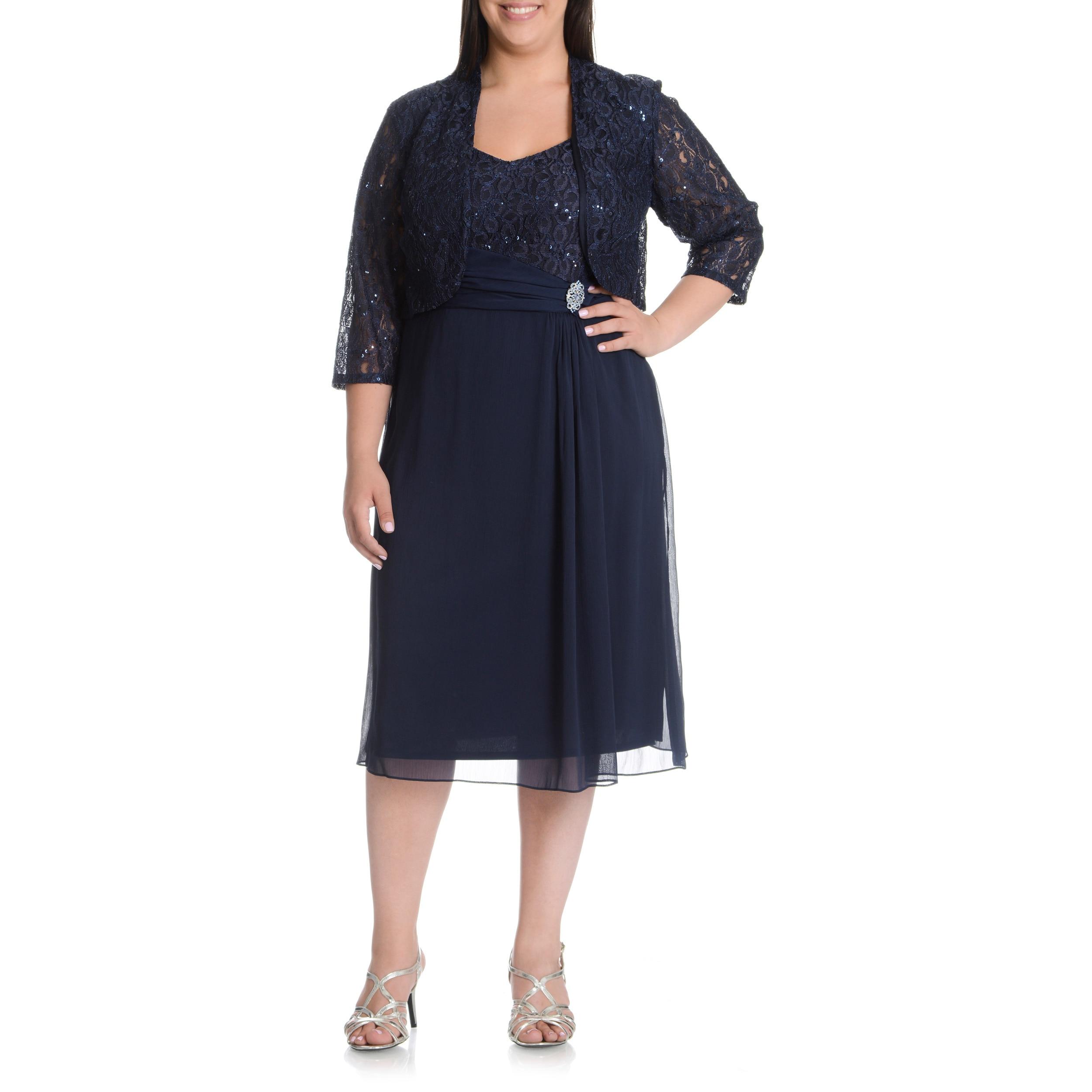 LE BOS Women\'s Plus Size Sequined Lace Jacket Dress