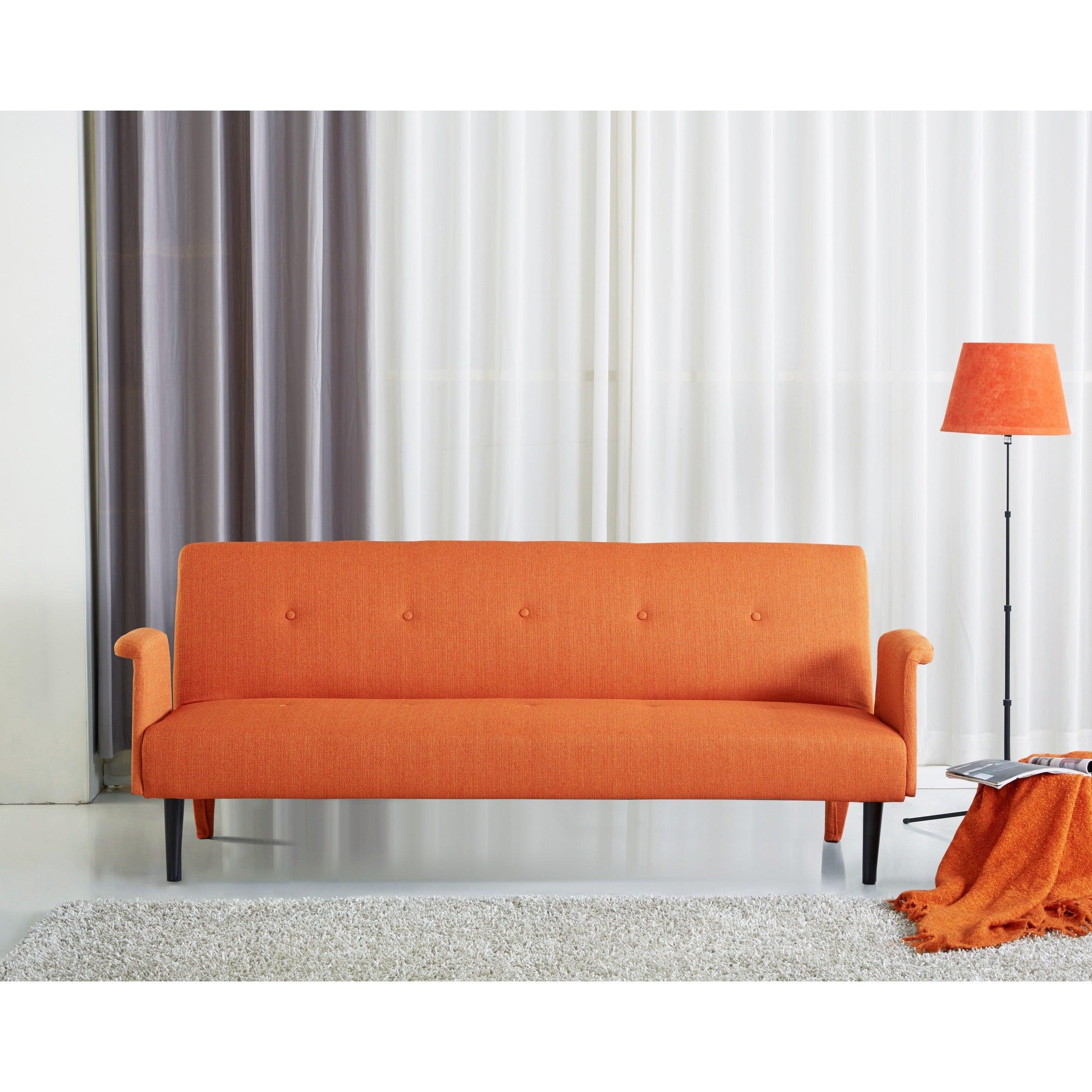 Sitswell Naomi Orange Futon Sofa Sleeper Bed On Free Shipping Today 10455769