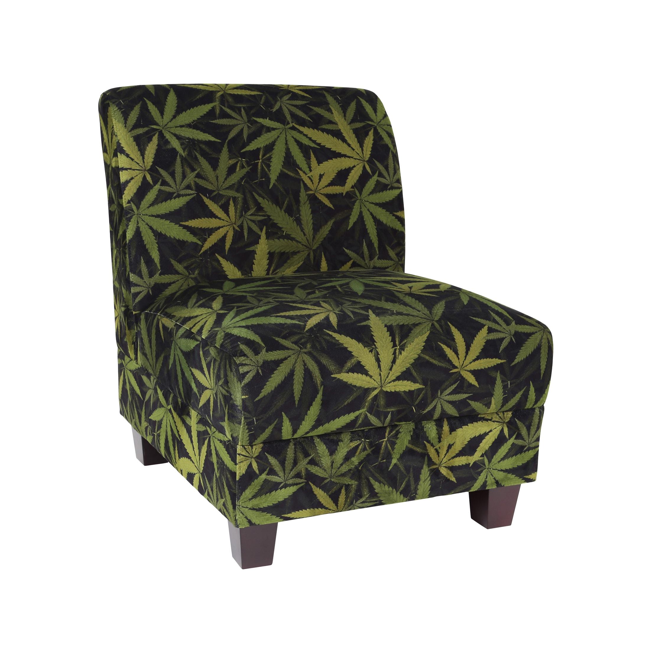 Mary Jane Furniture Kush Black and Green Botanical Marijuana Print