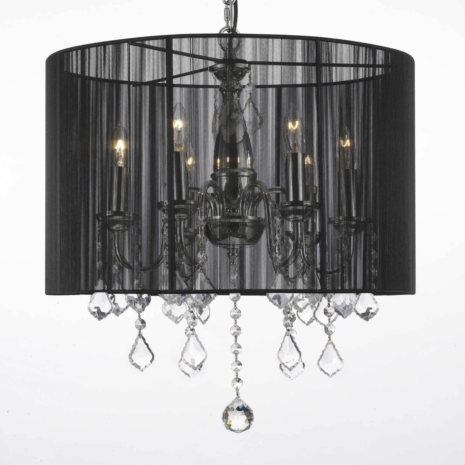 Crystal 6 Light Plug in Chandelier with Black Shade Free