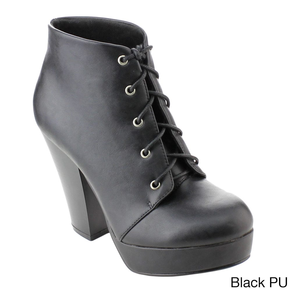 21837953f173 Shop Bonnibel Dustin-1 Women s Chunky Heel Platform Lace Up Ankle Booties -  Free Shipping On Orders Over  45 - Overstock - 10459023