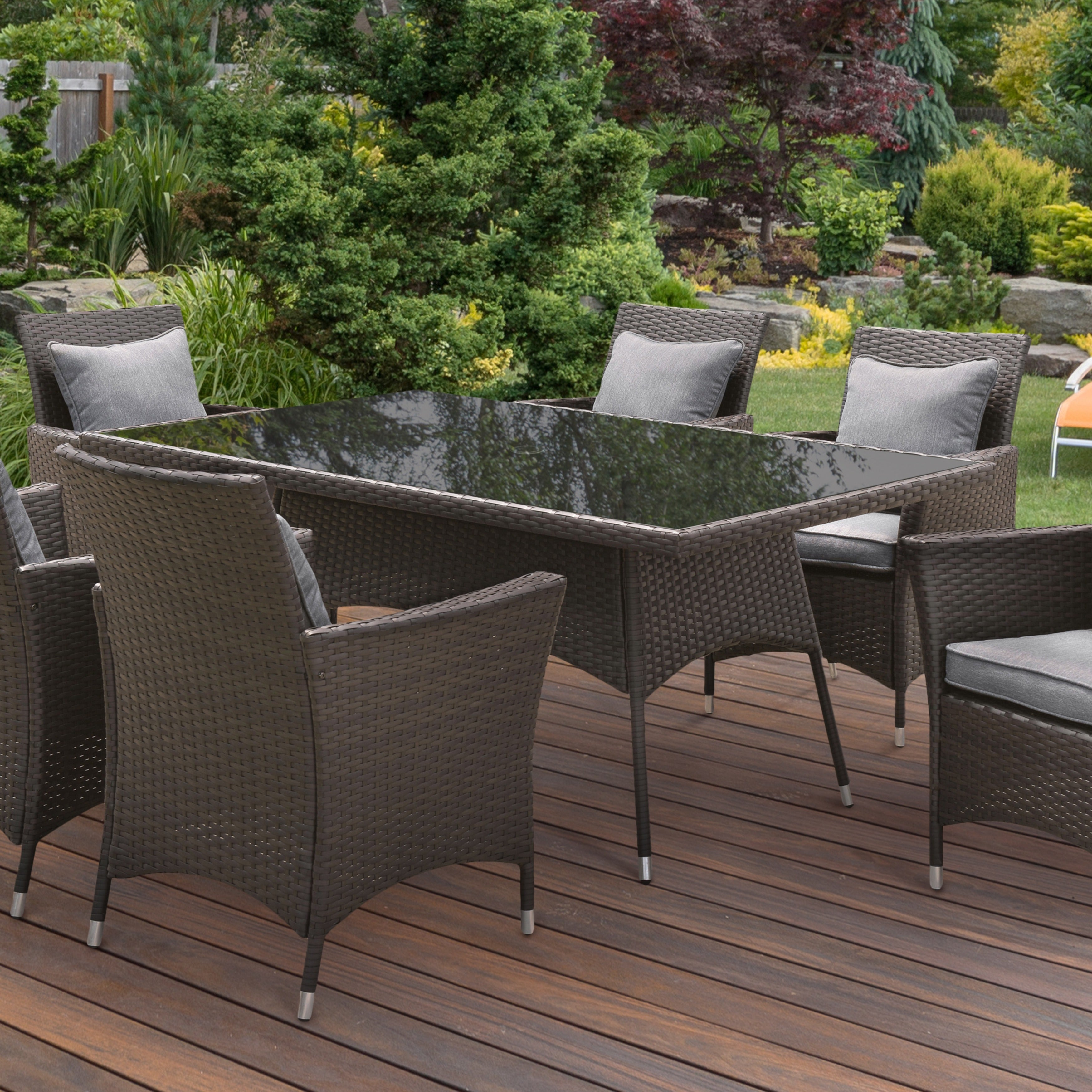 Furniture of america allyn espresso wicker inspired outdoor patio table