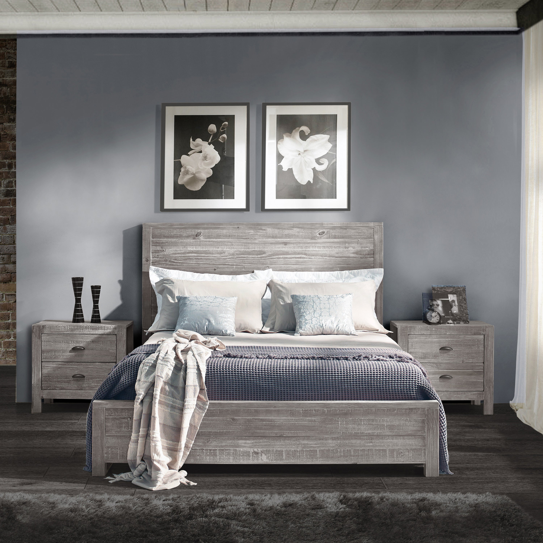 Light Grey Wooden Bedroom Furniture Oak Wood Antique King Bed ...