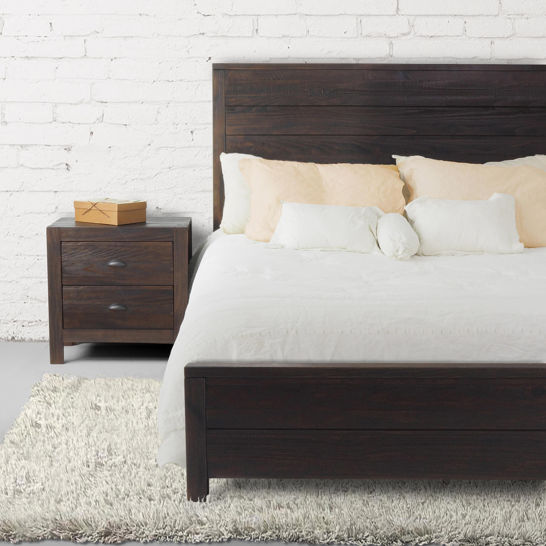 Grain Wood Furniture Montauk Queen Solid Wood Panel Bed - Free ...