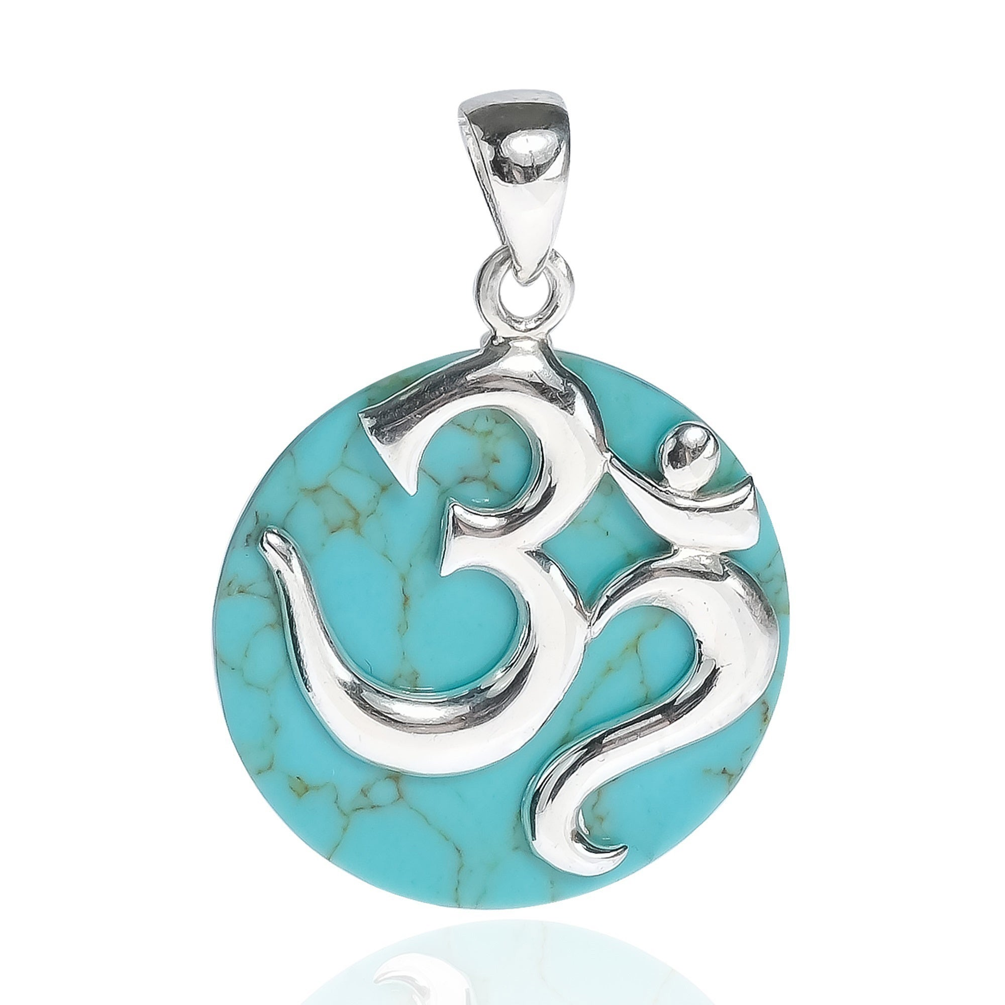 Handmade Aum Or Ohm Symbol Script 925 Sterling Silver Pendant Thailand