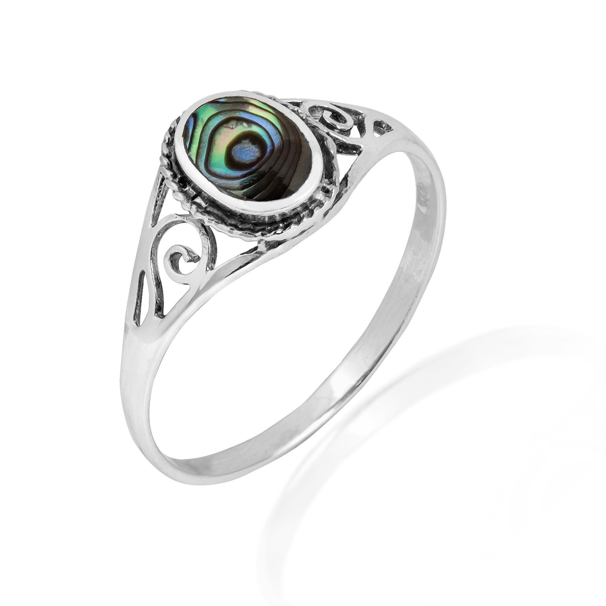 kohl abalone leaves women s pin ring leaf wedding silver size and rings green sterling