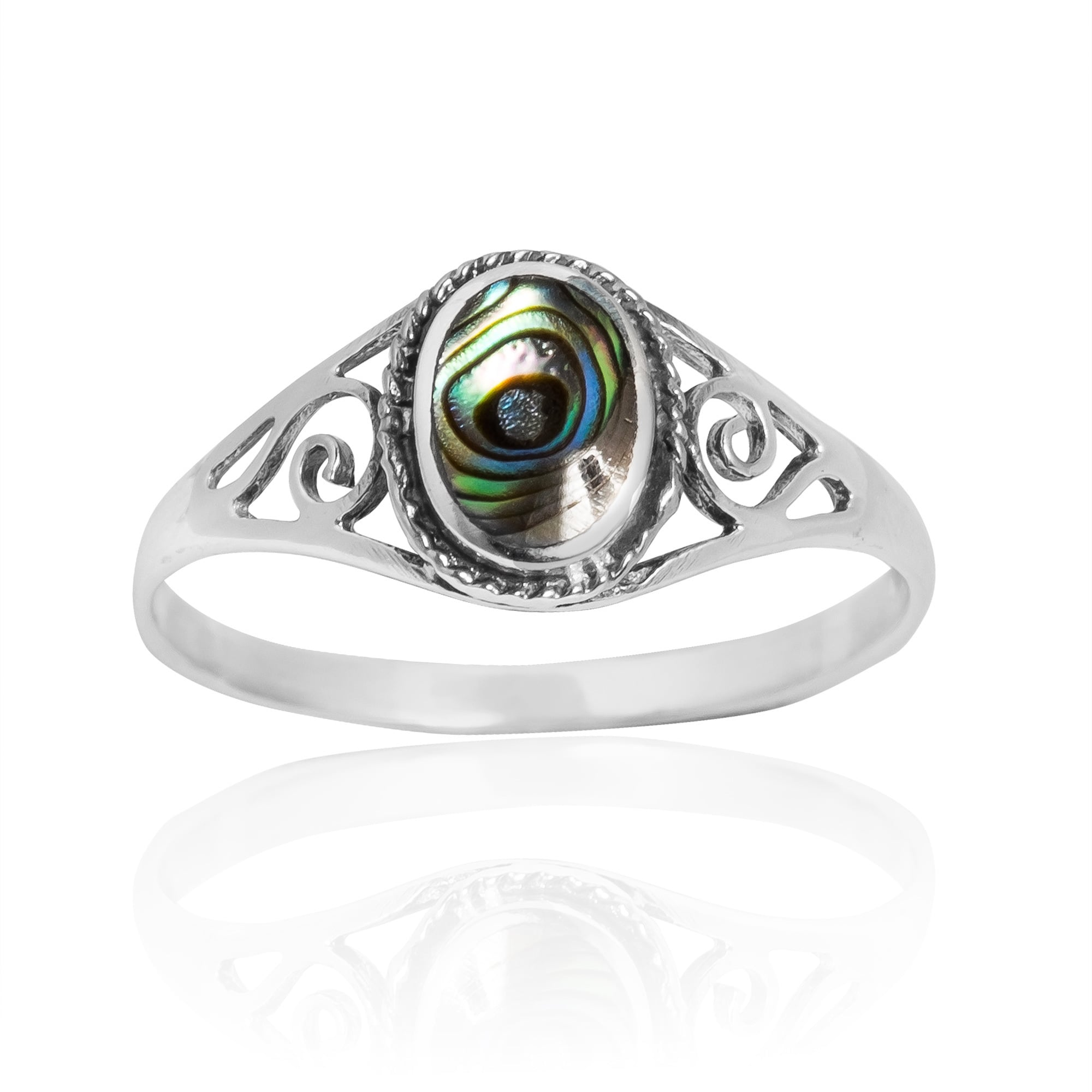 cushion product shaped ring abalone wedding rings silver bronze west east sterling