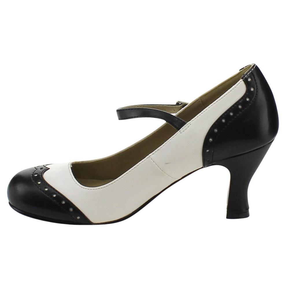 05bacf2c126 Shop Funtasma Flapper-25 Women s 3-inch Kitten Heel Round Toe Spectator  Maryjane Pump - Free Shipping On Orders Over  45 - Overstock - 10467469