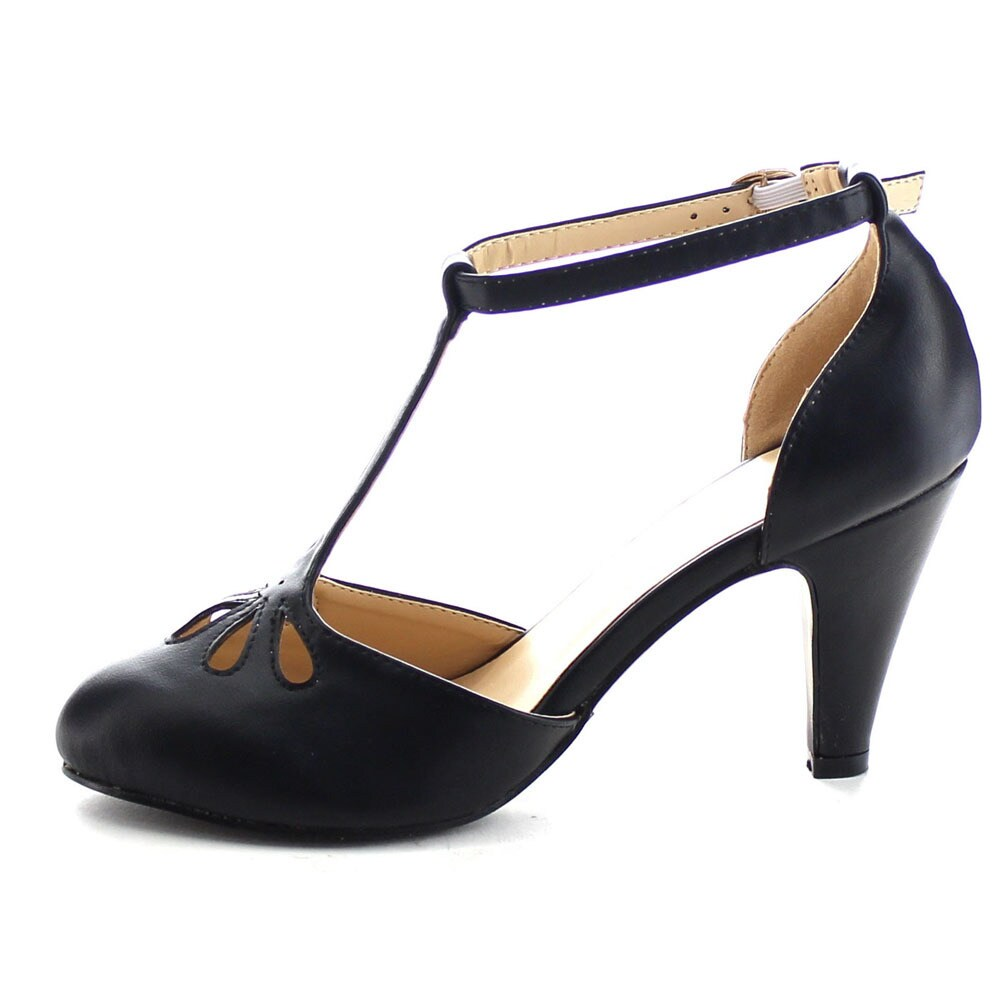 65f9ccc4513 Chase and Chloe Kimmy-36 Women's T-strap Mid Heels