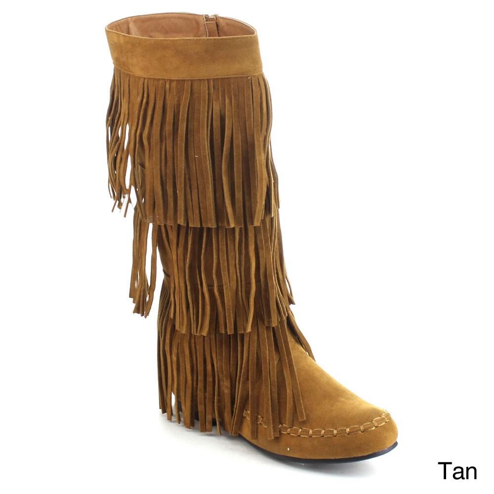 JOLIN-02 Women's Fringe Moccasin Flat Heel Zipper Under Knee High Boots