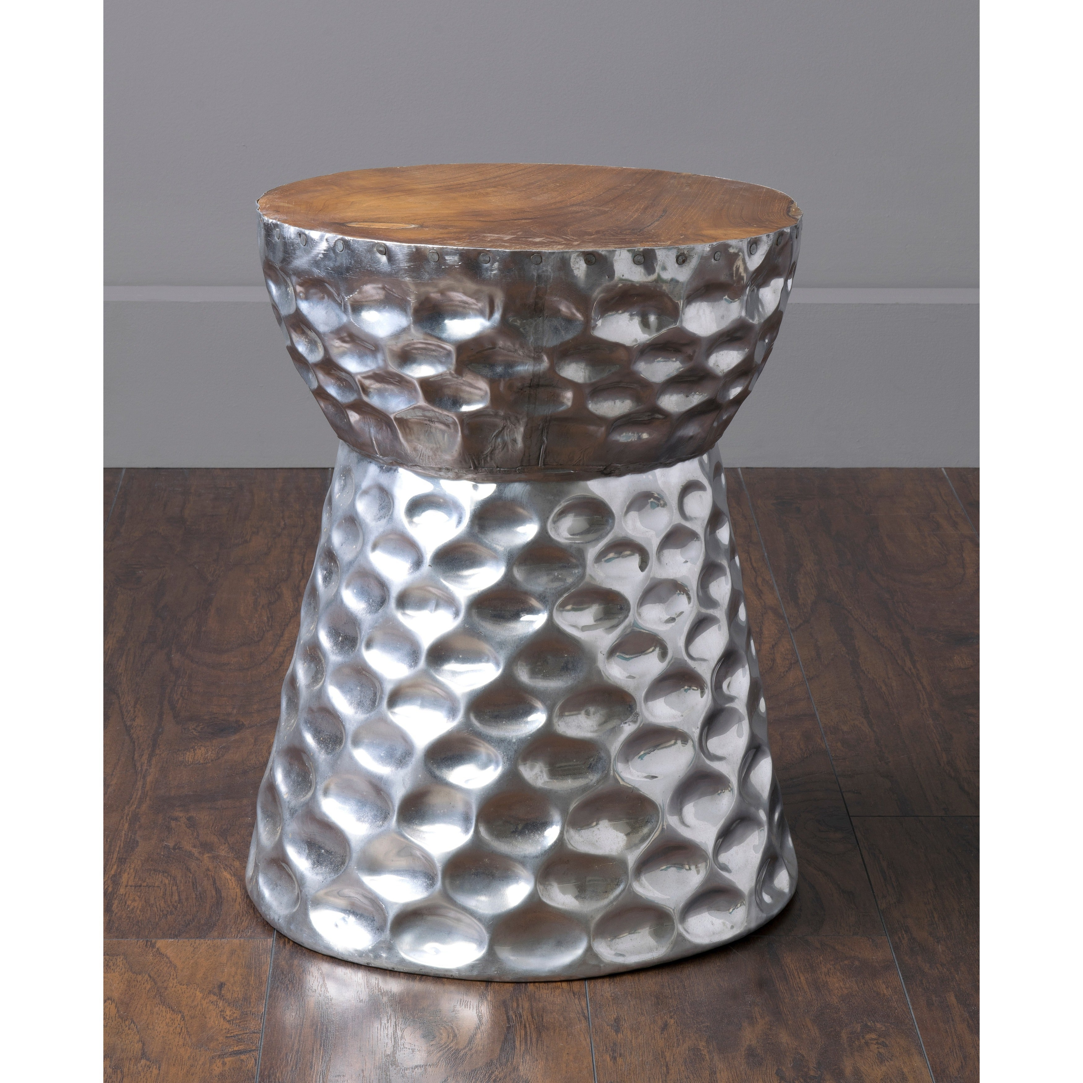 Shop Stanwood Modern Silver Wooden Drum Stool   Free Shipping Today    Overstock   10467720