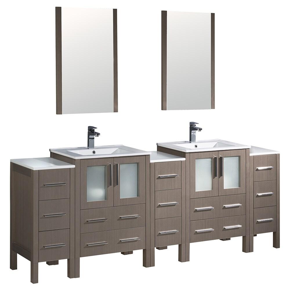 Shop Fresca Torino 84-inch Grey Oak Modern Double Sink Bathroom ...