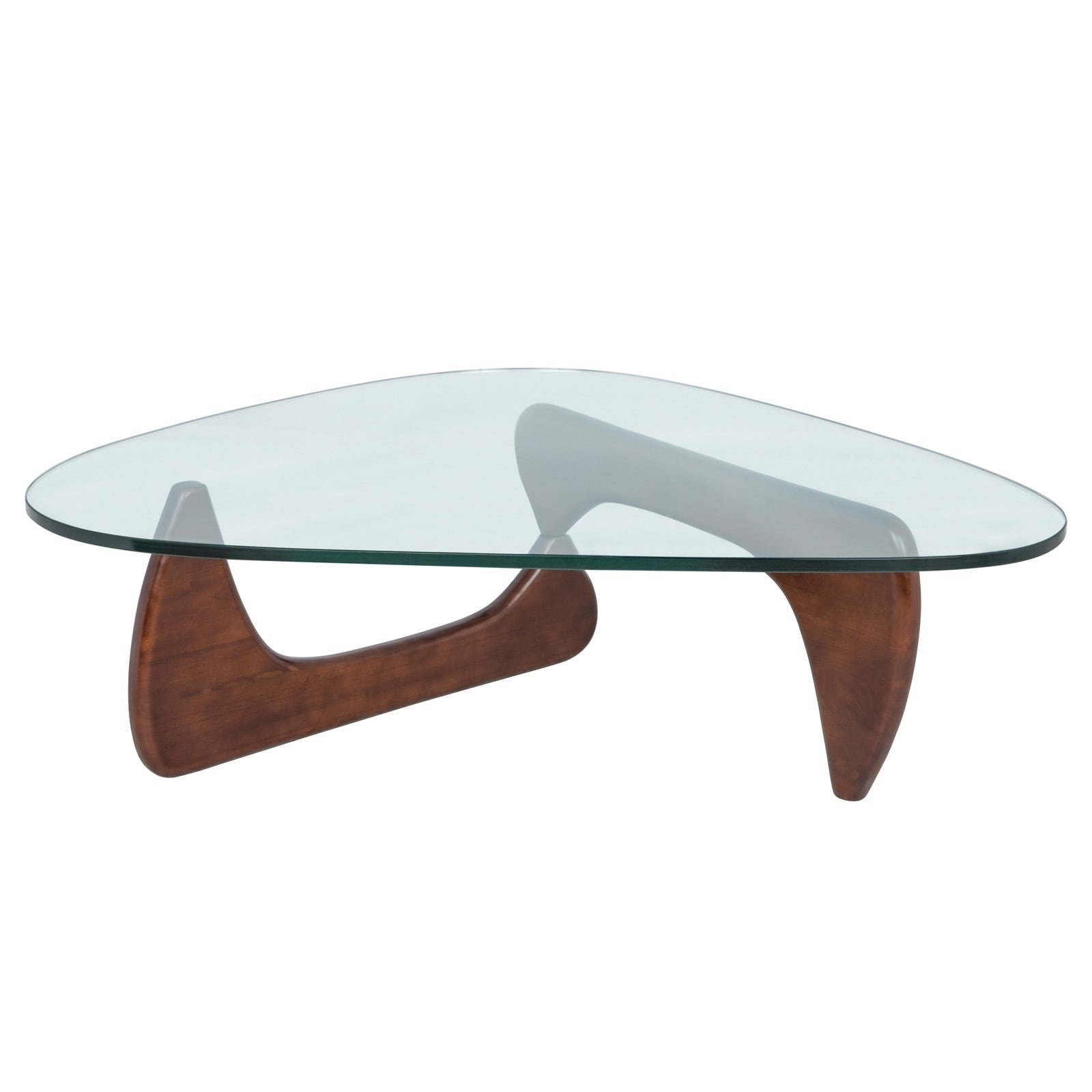 Shop leisuremod imperial triangle coffee table with walnut wood base free shipping today overstock com 10470110
