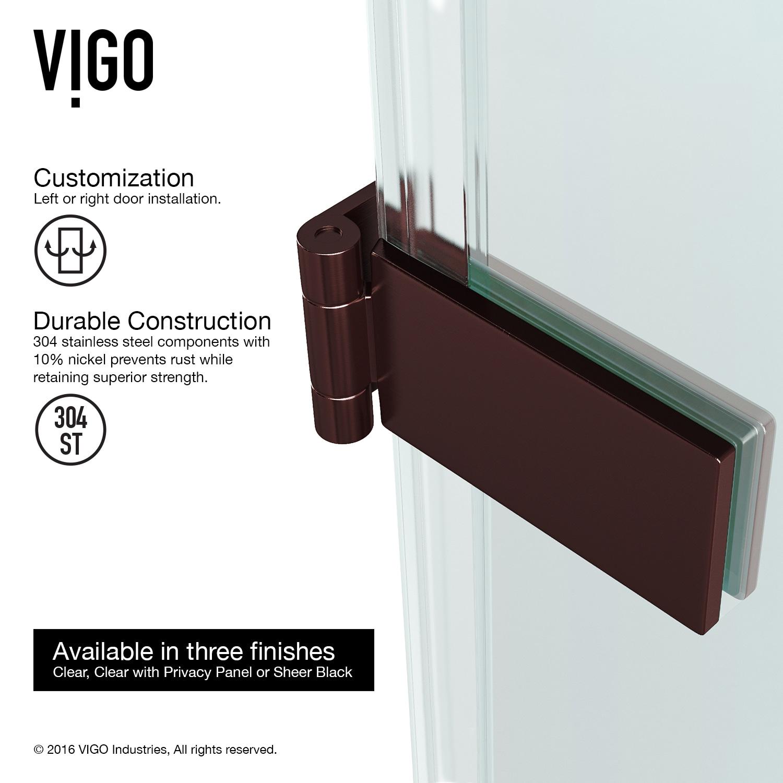 Shop Vigo Soho 24 Inch Adjustable Frameless Shower Door With Clear