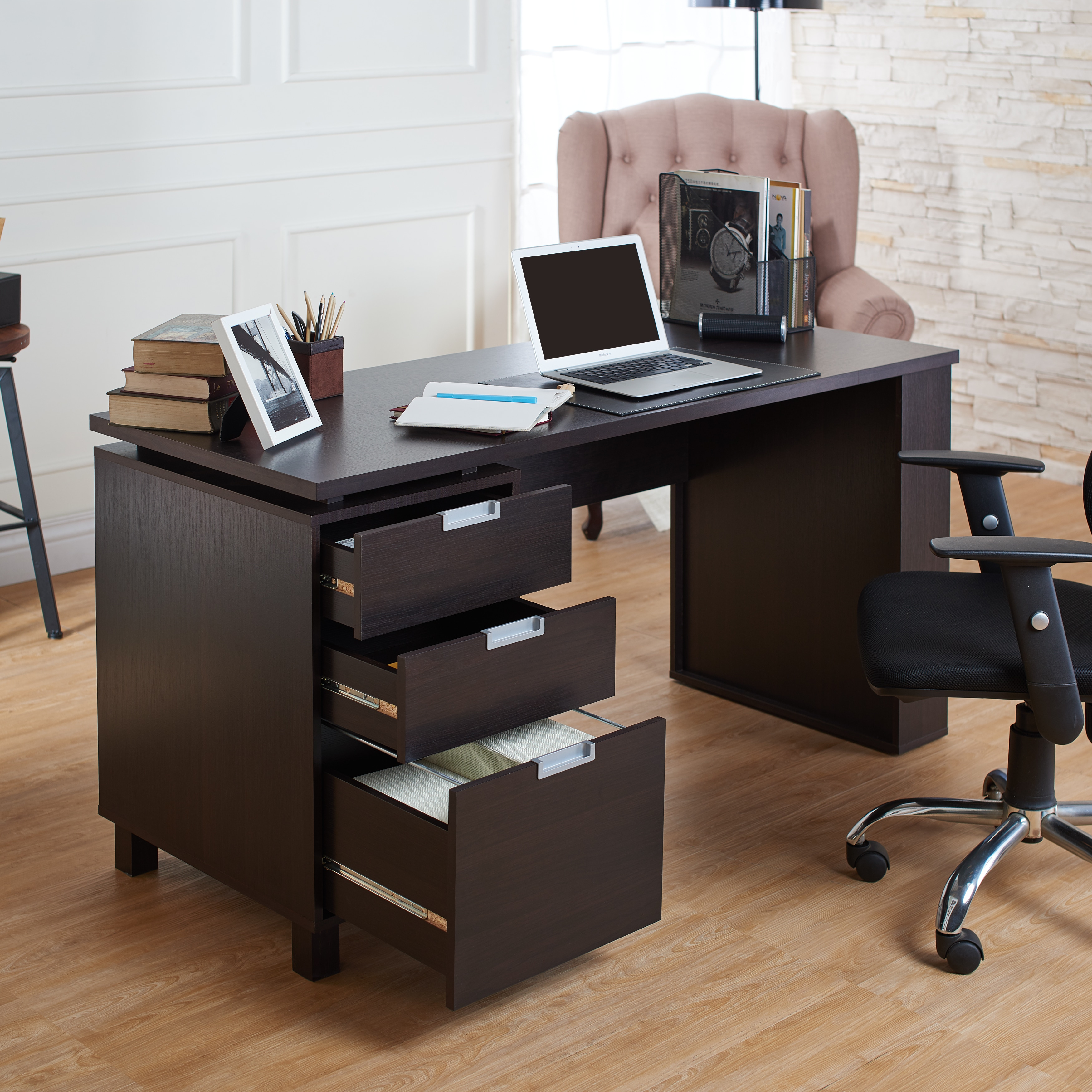 Shop Furniture Of America Tuston Espresso Office Desk With Built In File  Cabinet   On Sale   Free Shipping Today   Overstock.com   10473818
