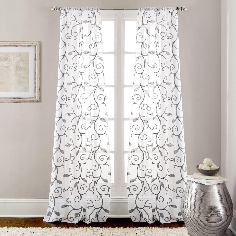 Amrapur Overseas Leaf Swirl Embroidered Curtain Panel Pair