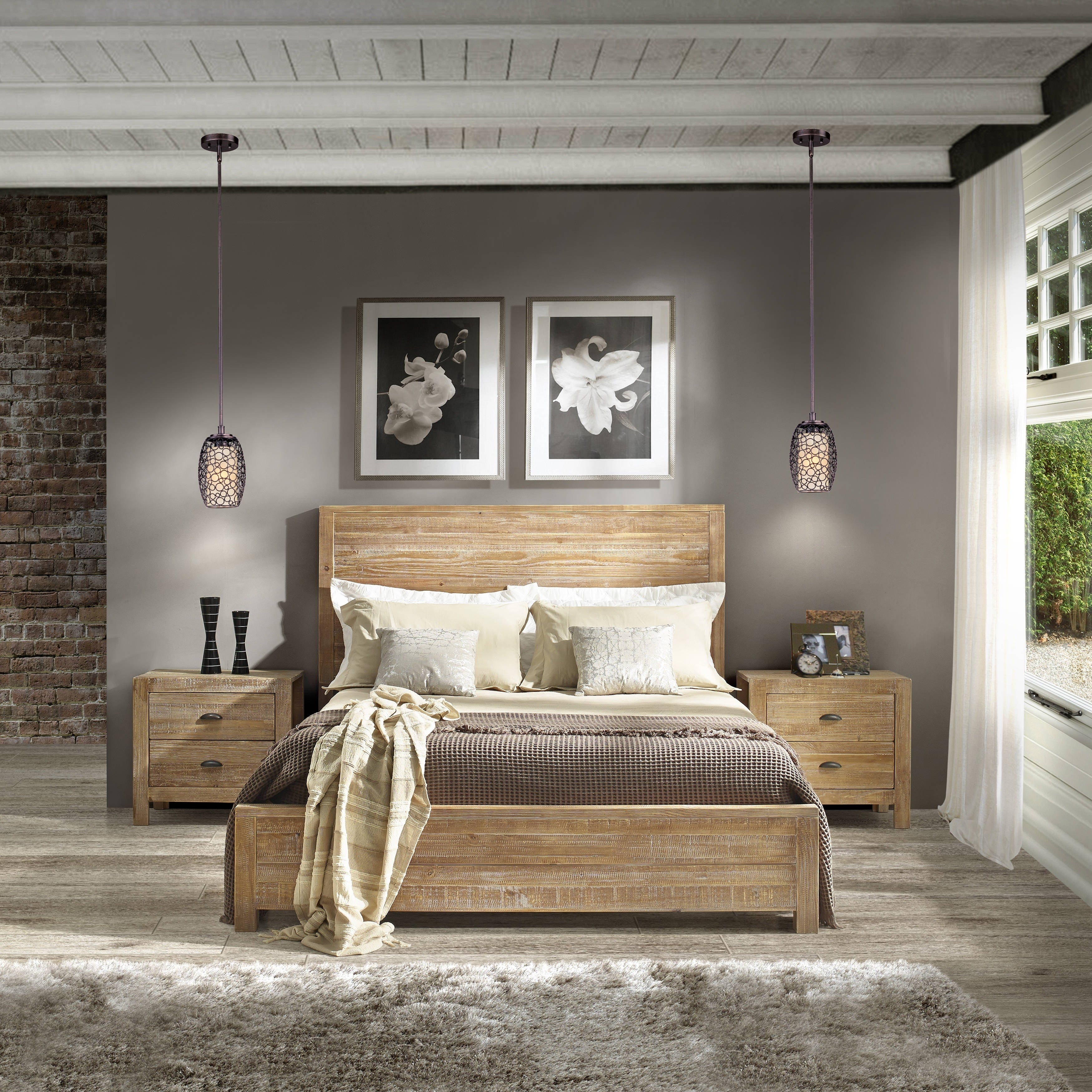 Grain Wood Furniture Montauk Full size Solid Wood Panel Bed Free