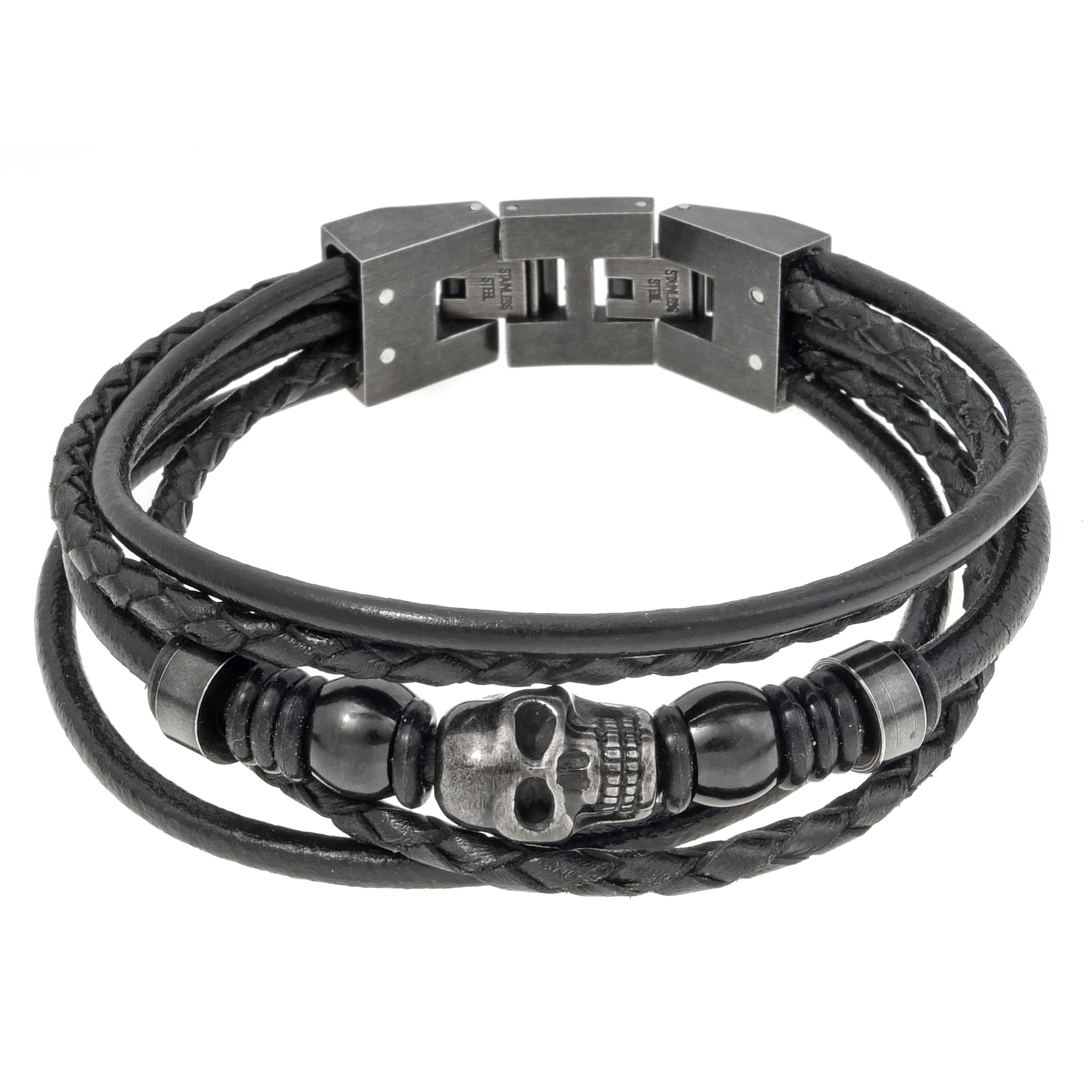 Stainless Steel and Black Leather Skull Bracelet - Free Shipping ...