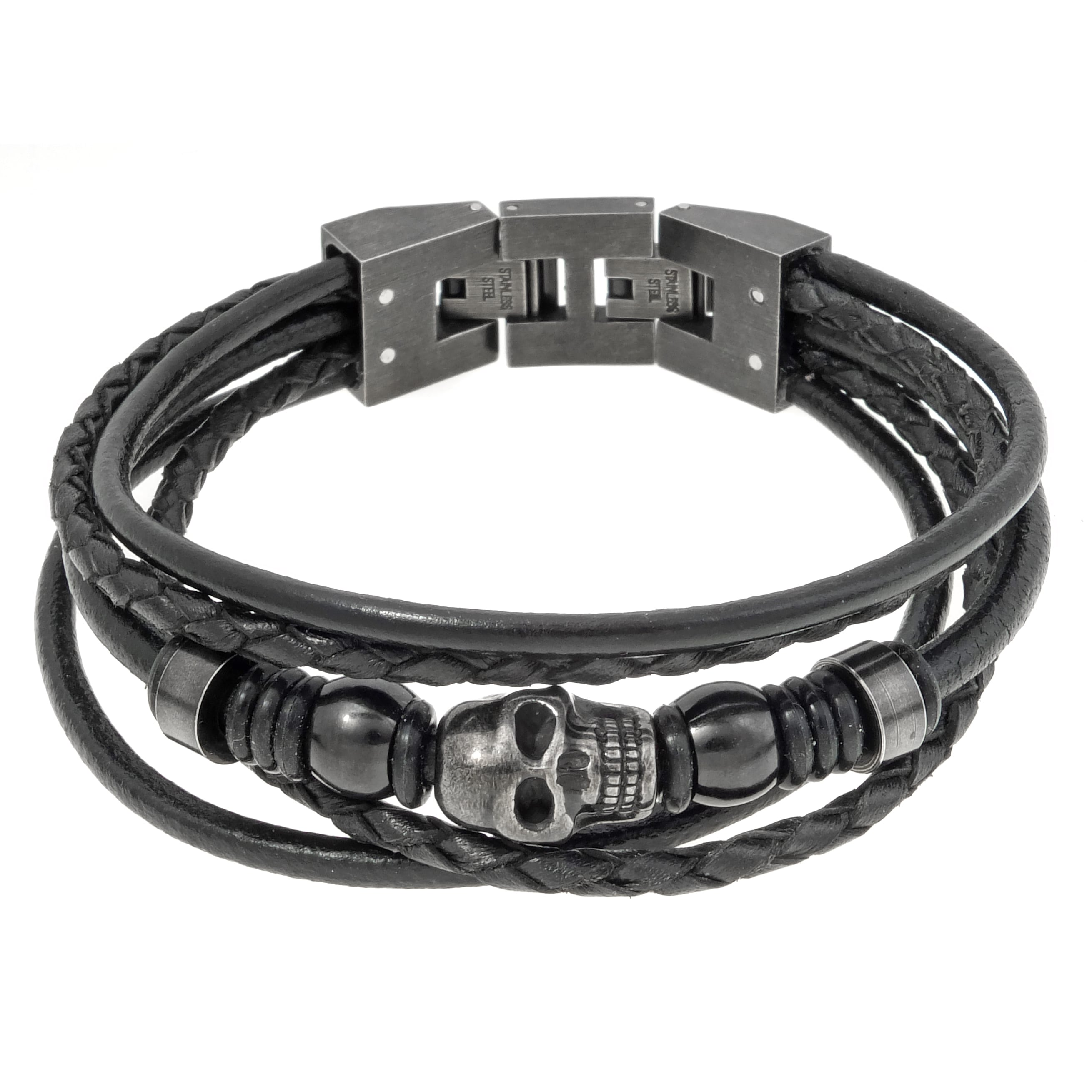Stainless Steel And Black Leather Skull Bracelet On Free Shipping Orders Over 45 10475968