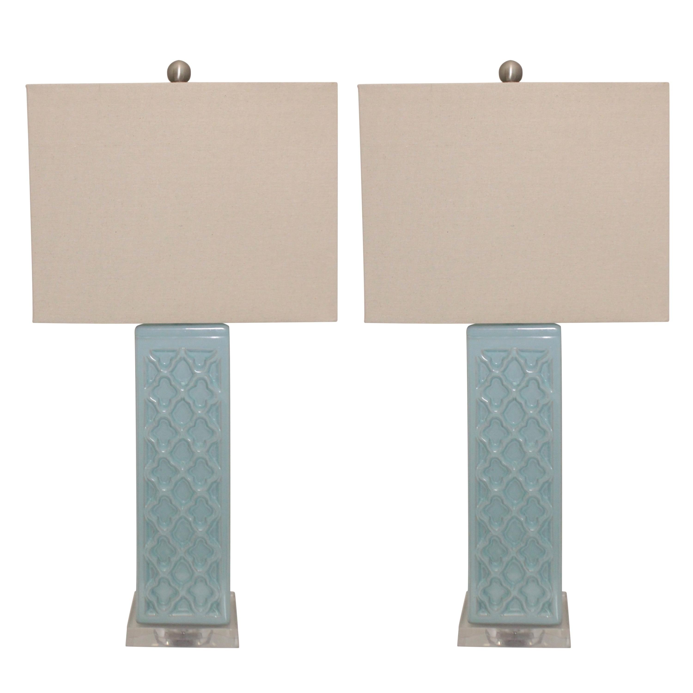 Shop Rectangular Blue Trellis Ceramic Table Lamps Set Of 2 On