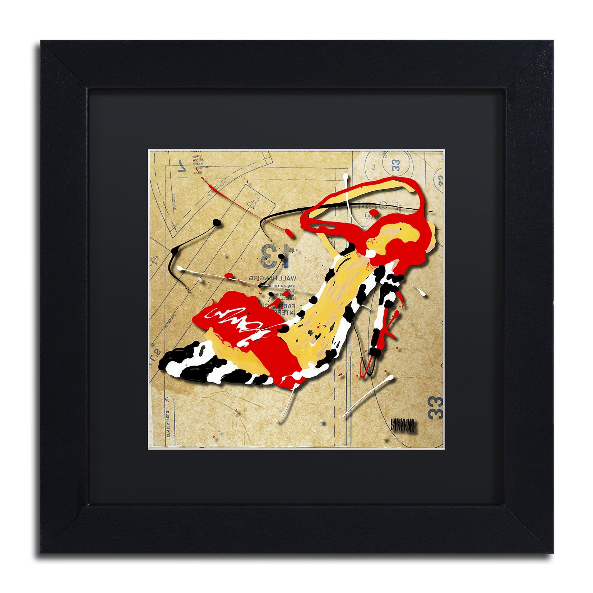 Roderick Stevens \'Zebra Heel Red\' Black Matte, Black Framed Wall Art ...