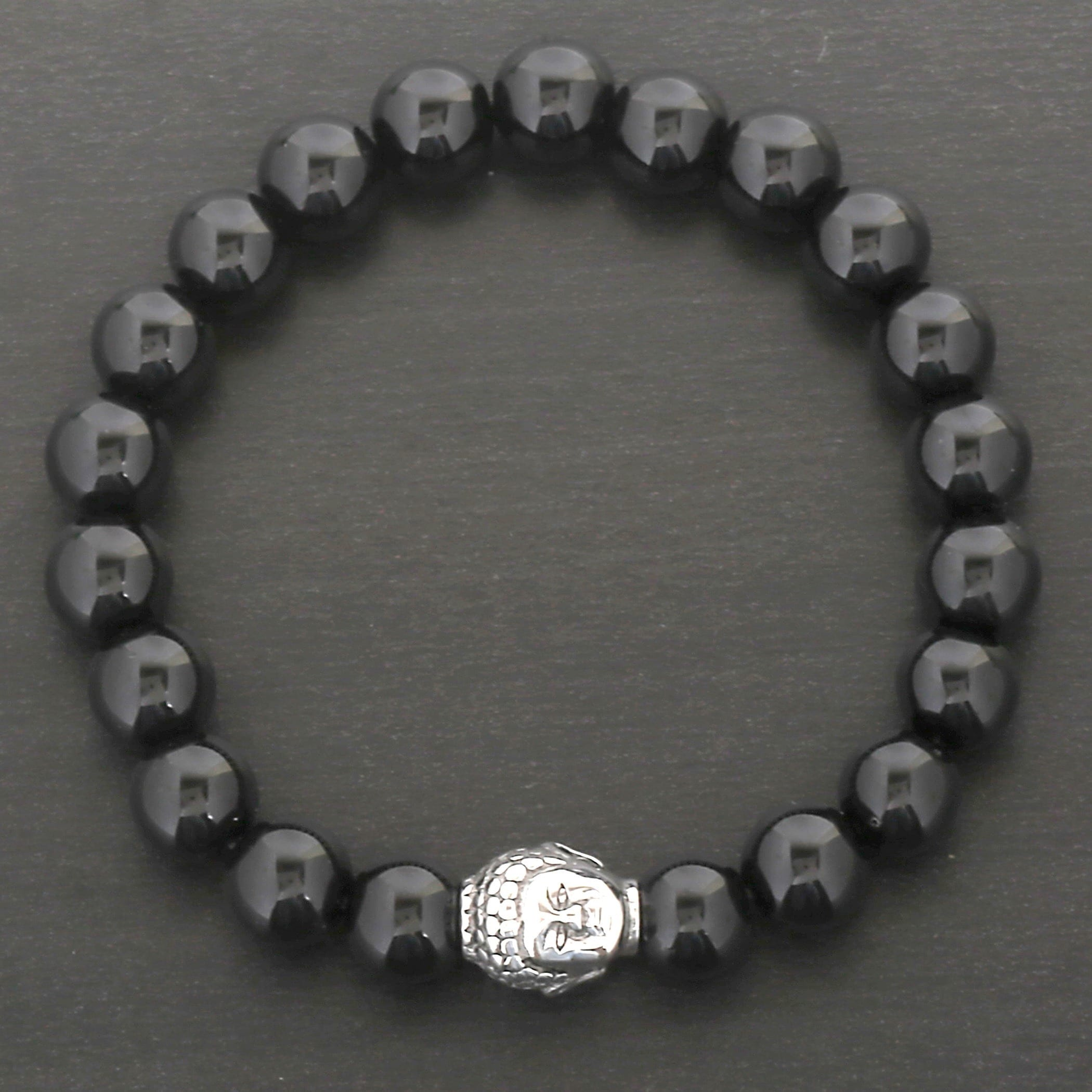 premium silver mens products cracked lava beads bracelet bead and crystal stretch