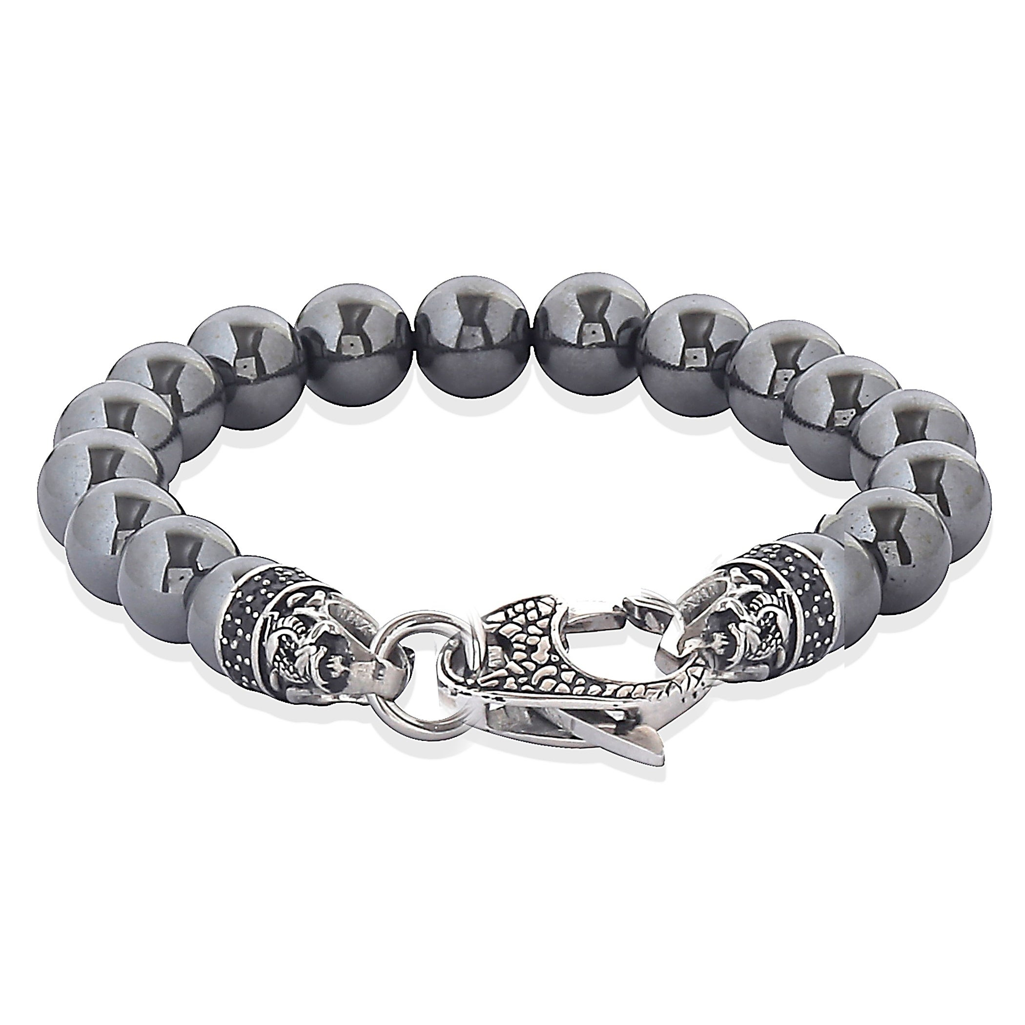 over steel shipping bracelet stainless on hematite free jewellery crucible orders beaded antiqued product overstock polished jewelry watches