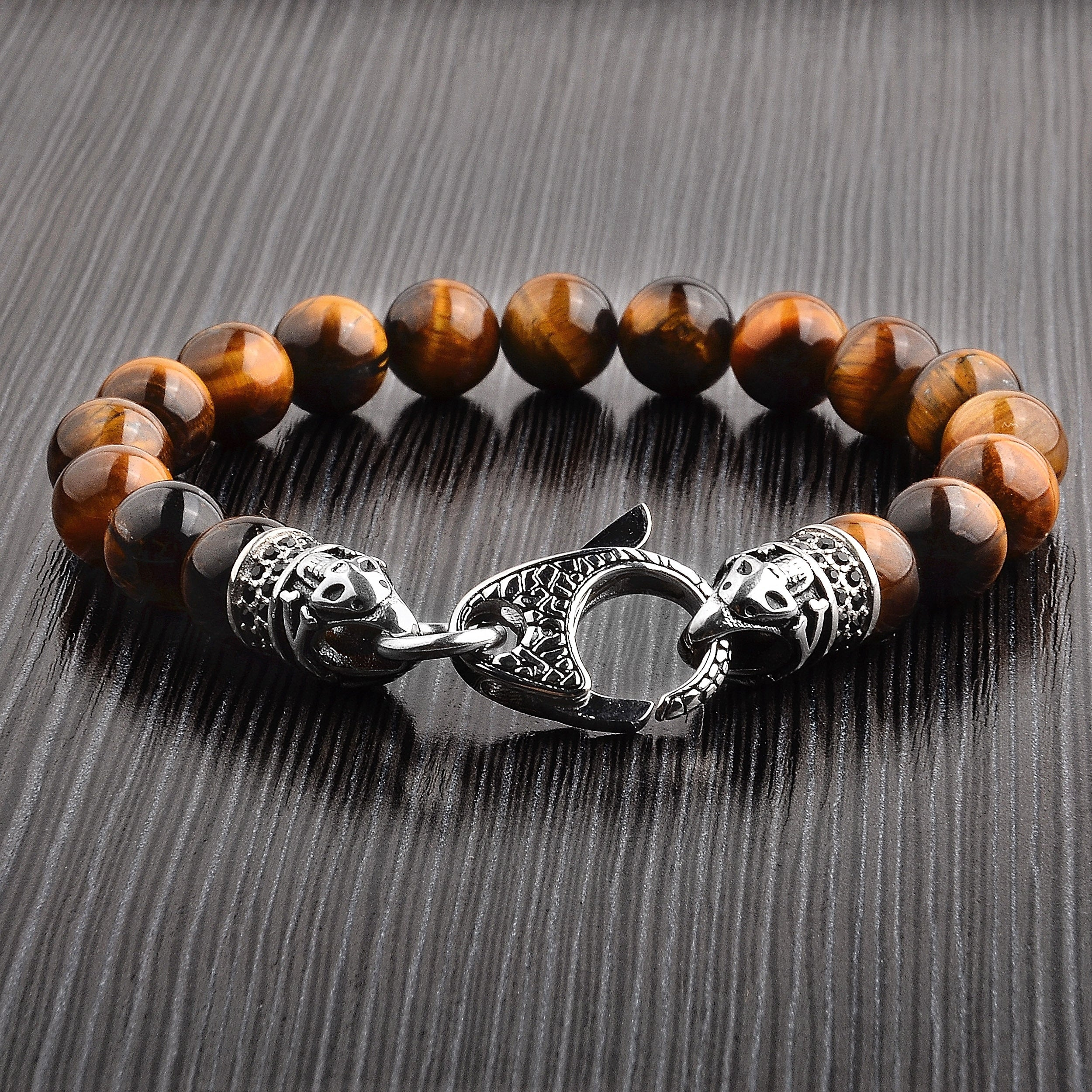product s polished antiqued over on bracelet free stainless eye crucible tigers steel tiger overstock beaded watches shipping jewelry orders bead