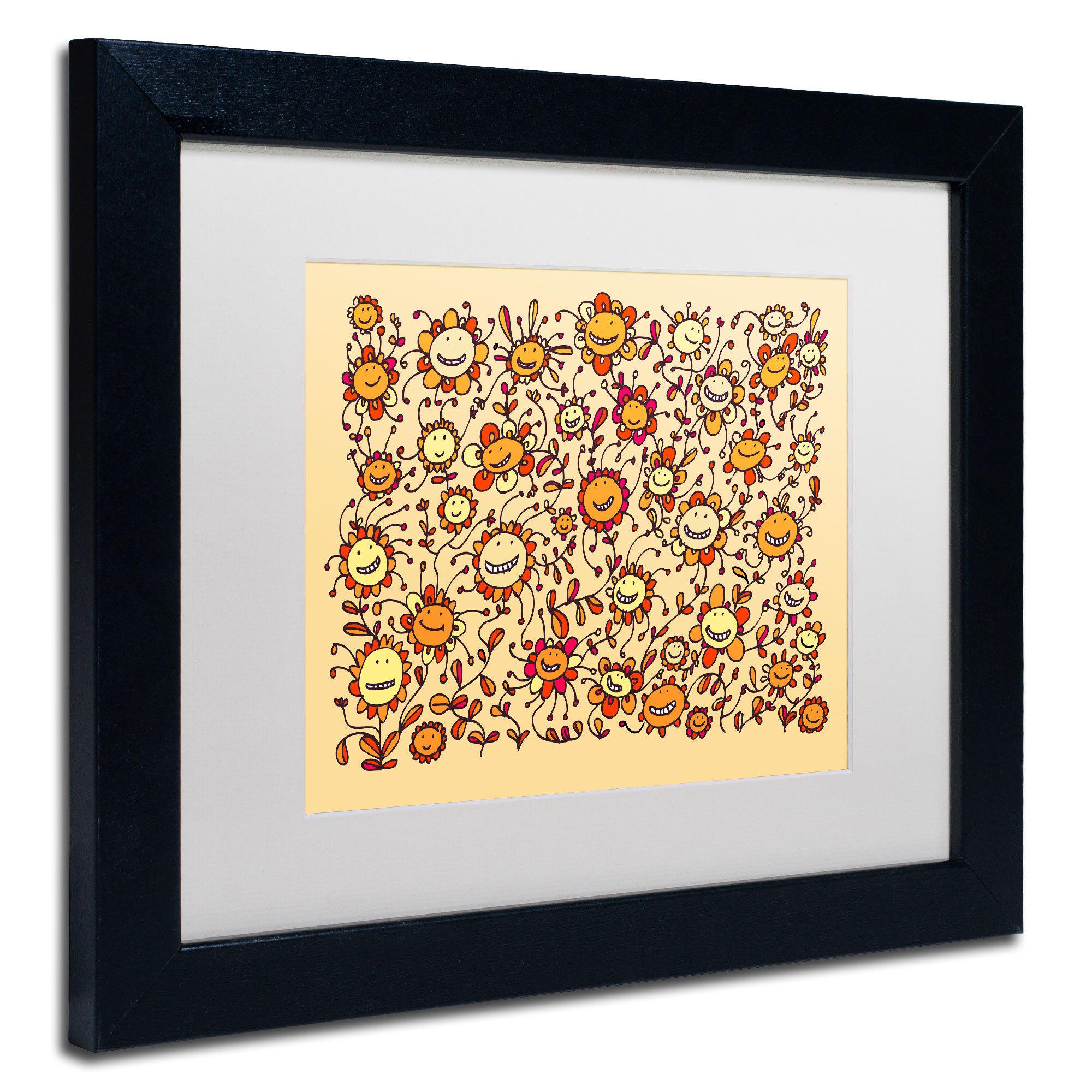 Shop Carla Martell \'Smiling Sunflowers\' White Matte, Black Framed ...