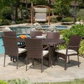 McNeil Outdoor 7-piece Wicker Dining Set with Cushions by Christopher Knight Home