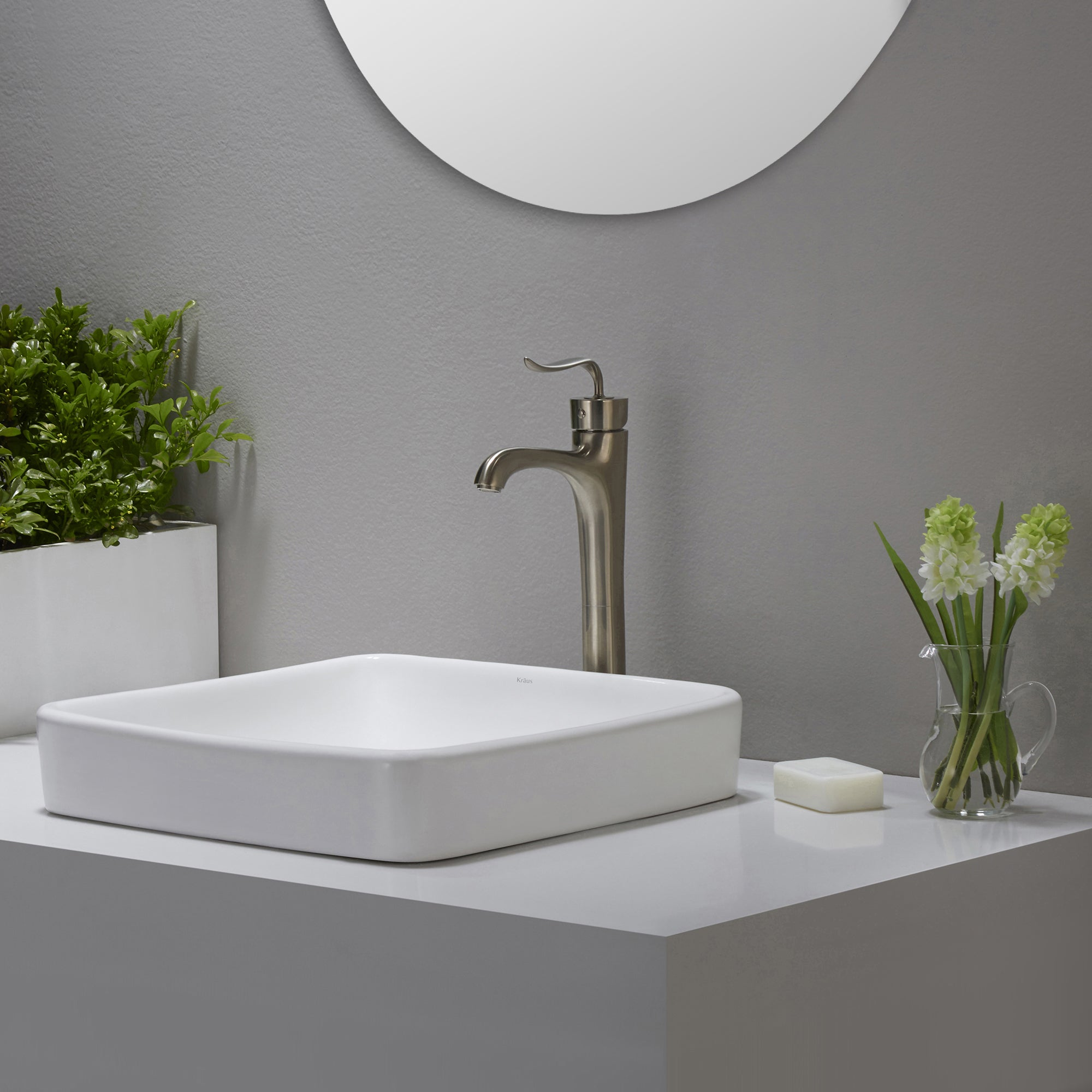 Shop KRAUS Elavo Series Square Ceramic Semi-Recessed Bathroom Sink - On Sale - Free Shipping Today - Overstock.com - 10482046