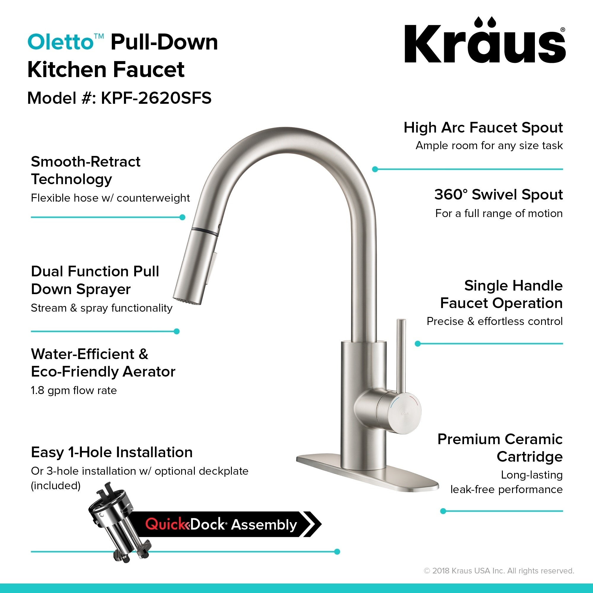 Shop Kraus Kpf 2620 Oletto 1 Handle 2 Function Sprayhead Pull Down